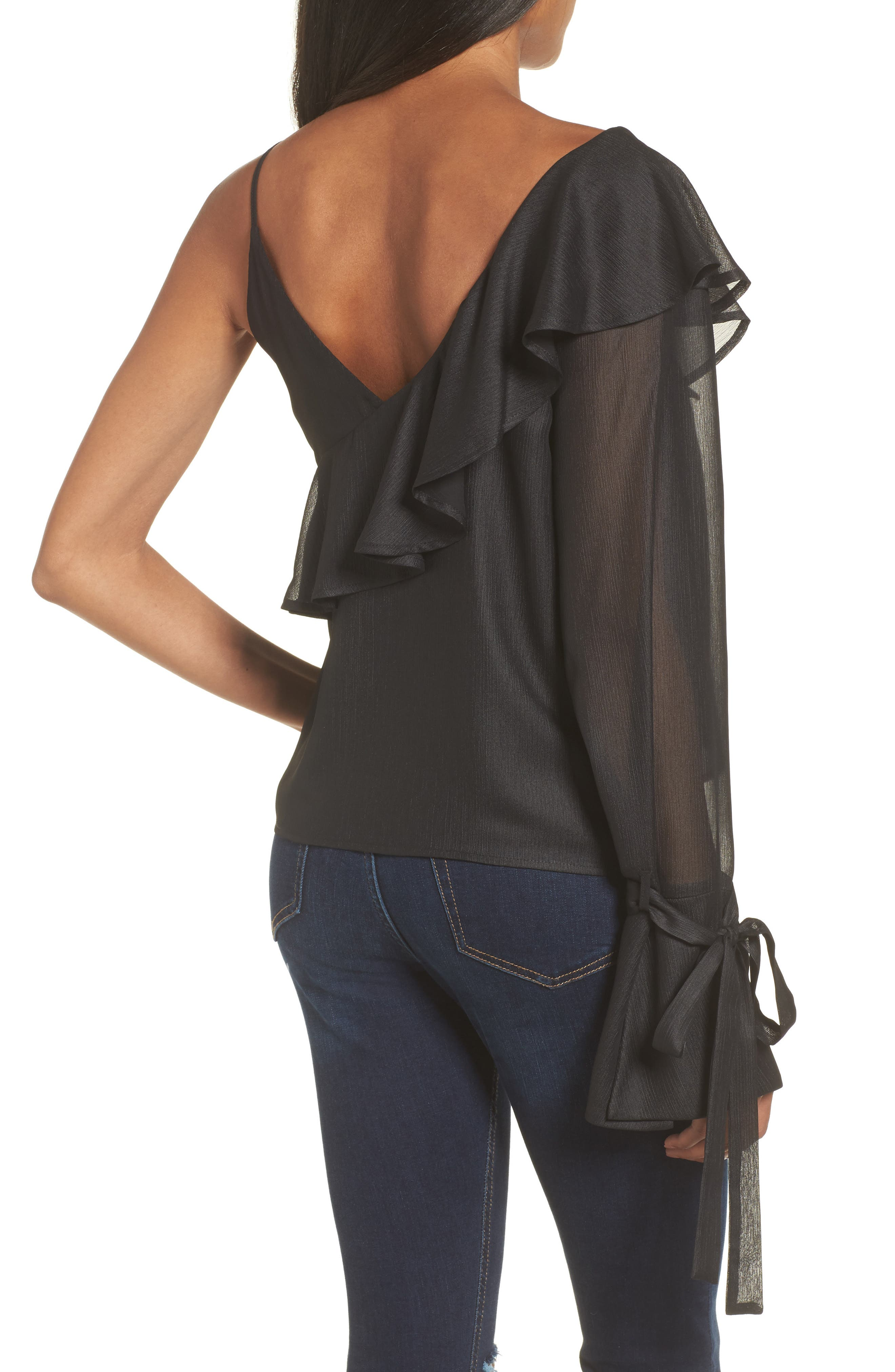 Alternate Image 2  - Ruffle One-Shoulder Blouse