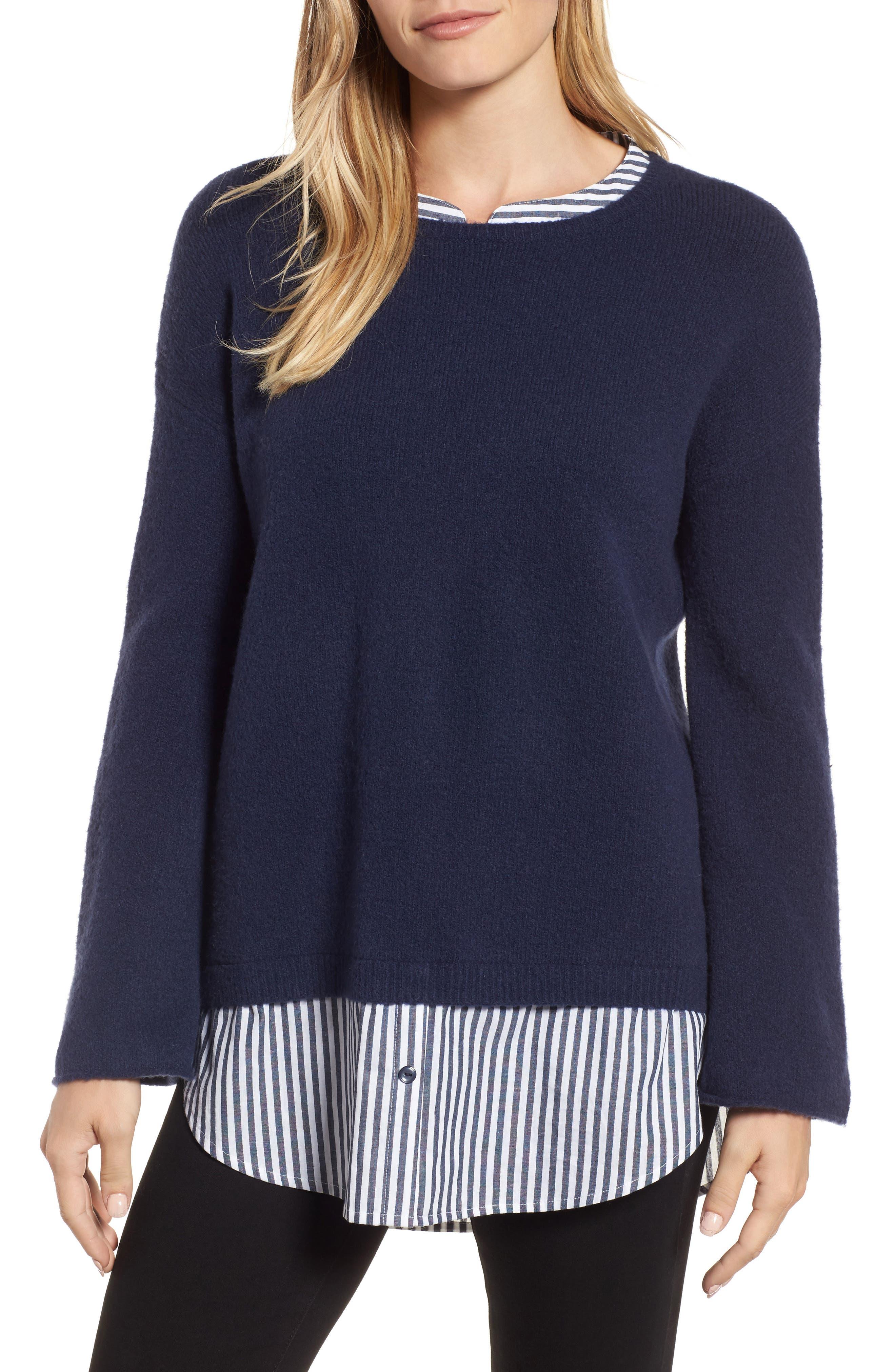 Caslon® Layered Look Sweater (Regular & Petite)