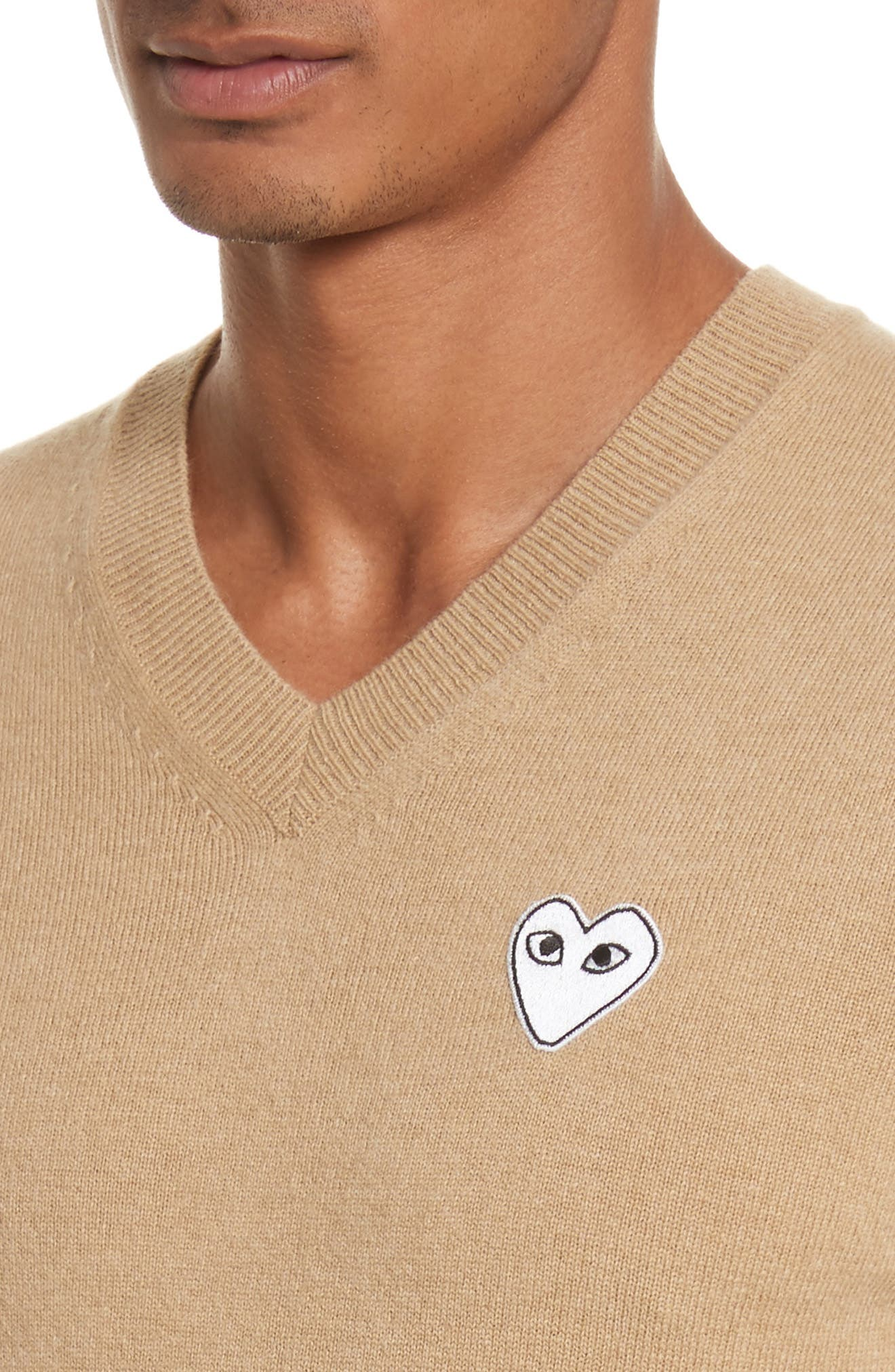 Comme des Garçons PLAY White Heart Wool V-Neck Sweater,                             Alternate thumbnail 4, color,                             Camel