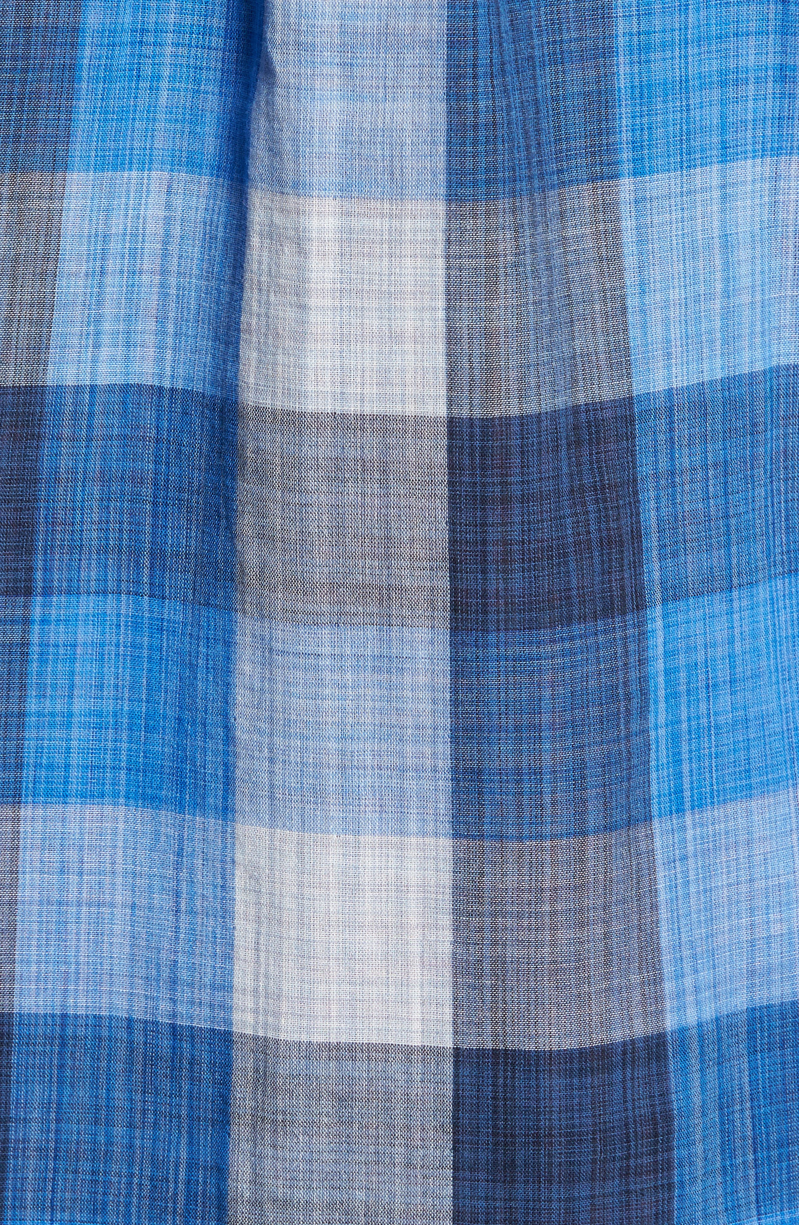 Dual Lux Standard Fit Check Sport Shirt,                             Alternate thumbnail 5, color,                             Bering Blue