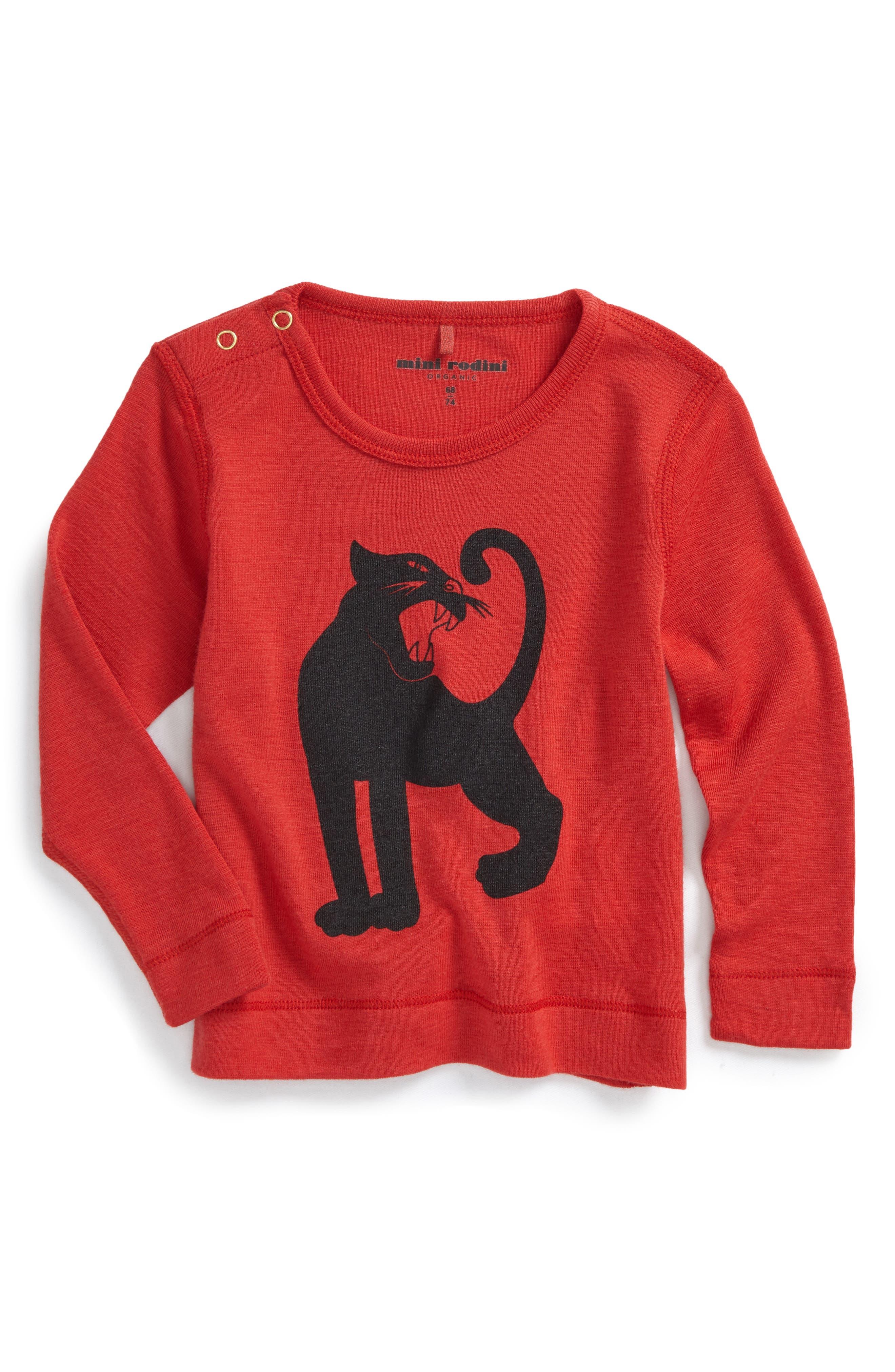 Mini Rodini Panther Merino Wool T-Shirt (Baby Boys)