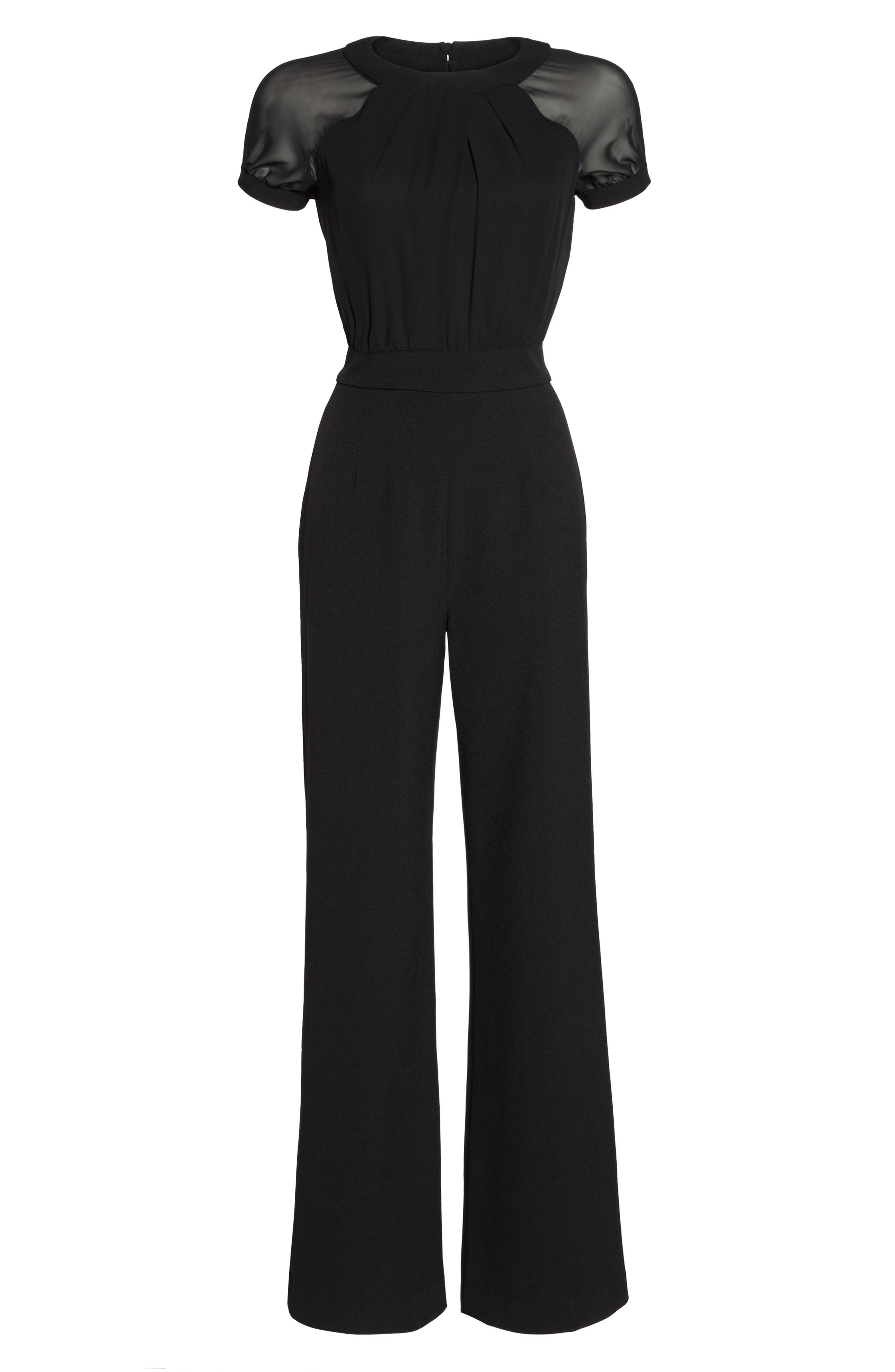 Chiffon & Crepe Jumpsuit,                             Alternate thumbnail 6, color,                             Black