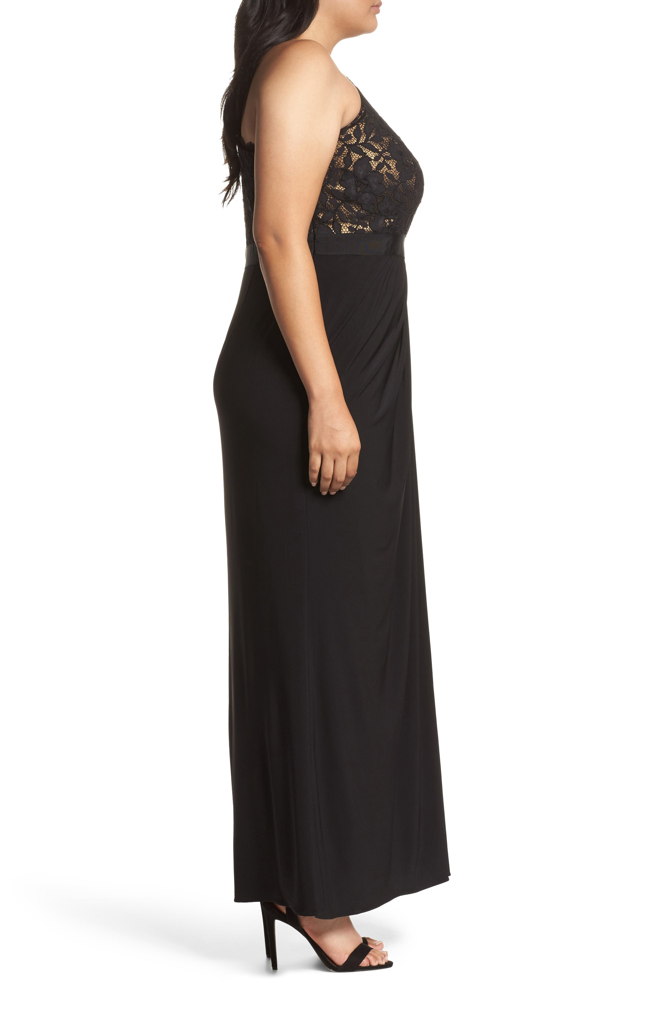 Metallic Lined Lace & Chiffon One-Shoulder Gown,                             Alternate thumbnail 3, color,                             Black/ Copper