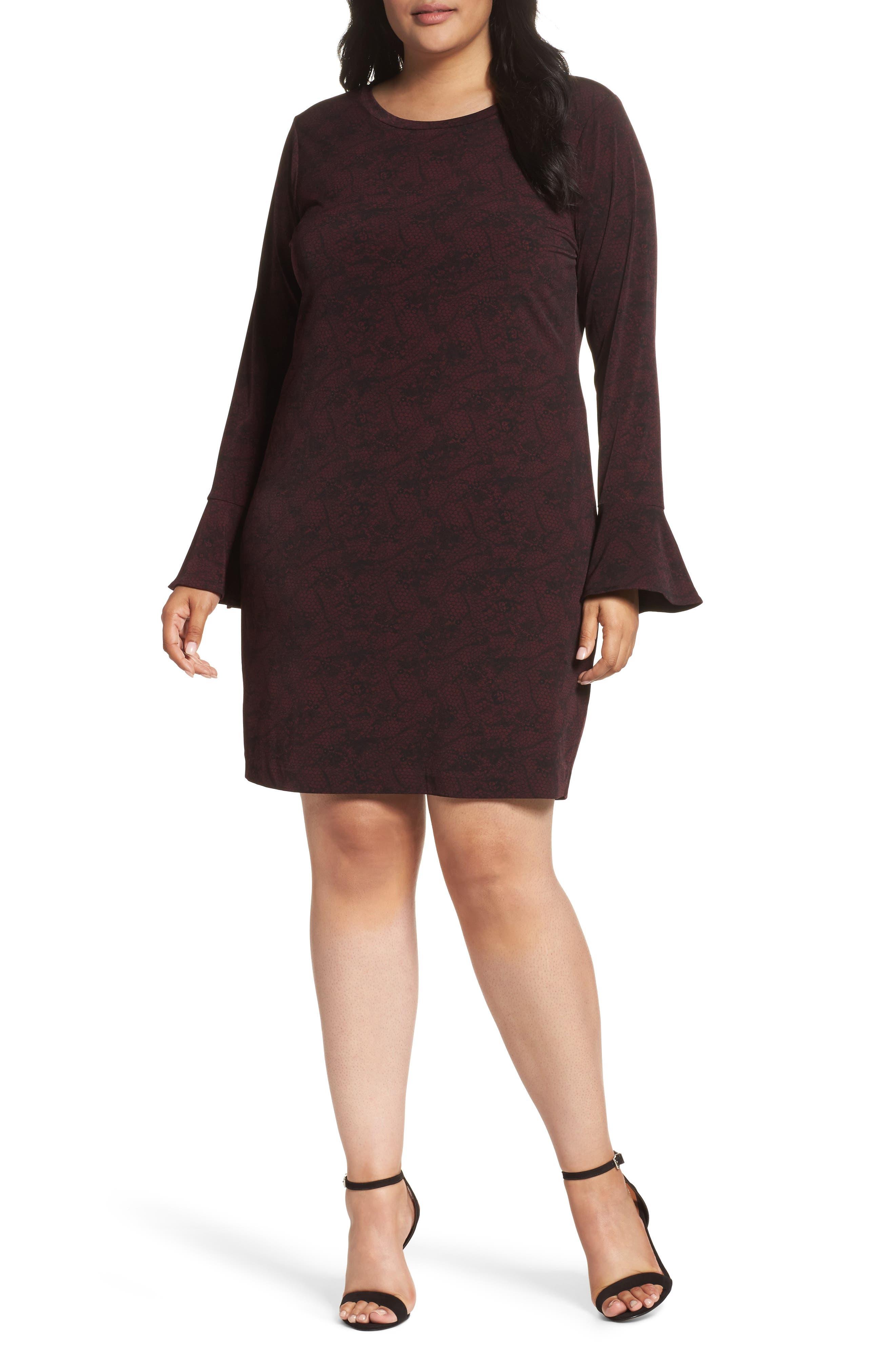 Ruffle Cuff Print Shift Dress,                         Main,                         color, Merlot/ Black