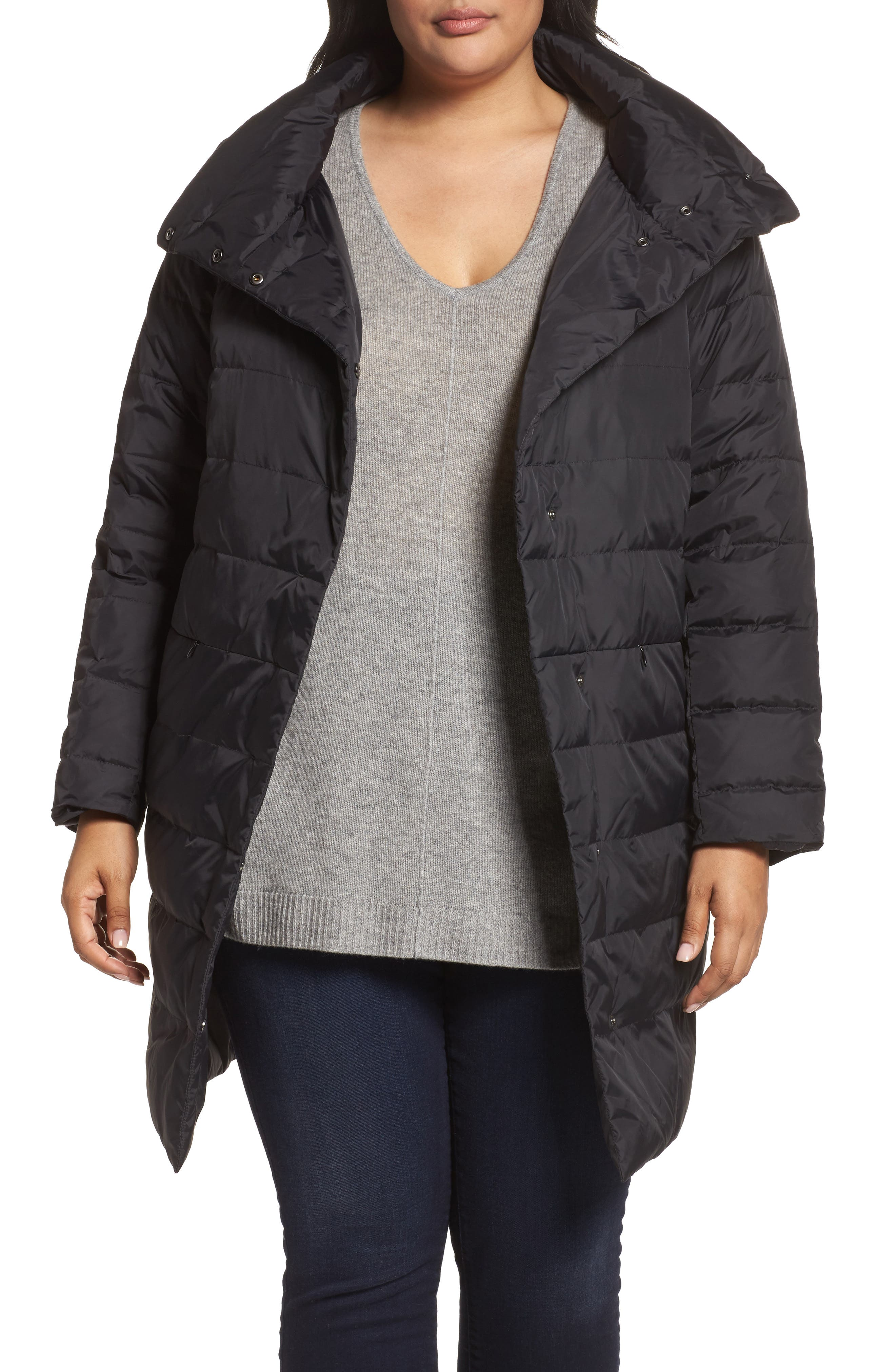 Alternate Image 1 Selected - Eileen Fisher Down Puffer Coat (Plus Size)