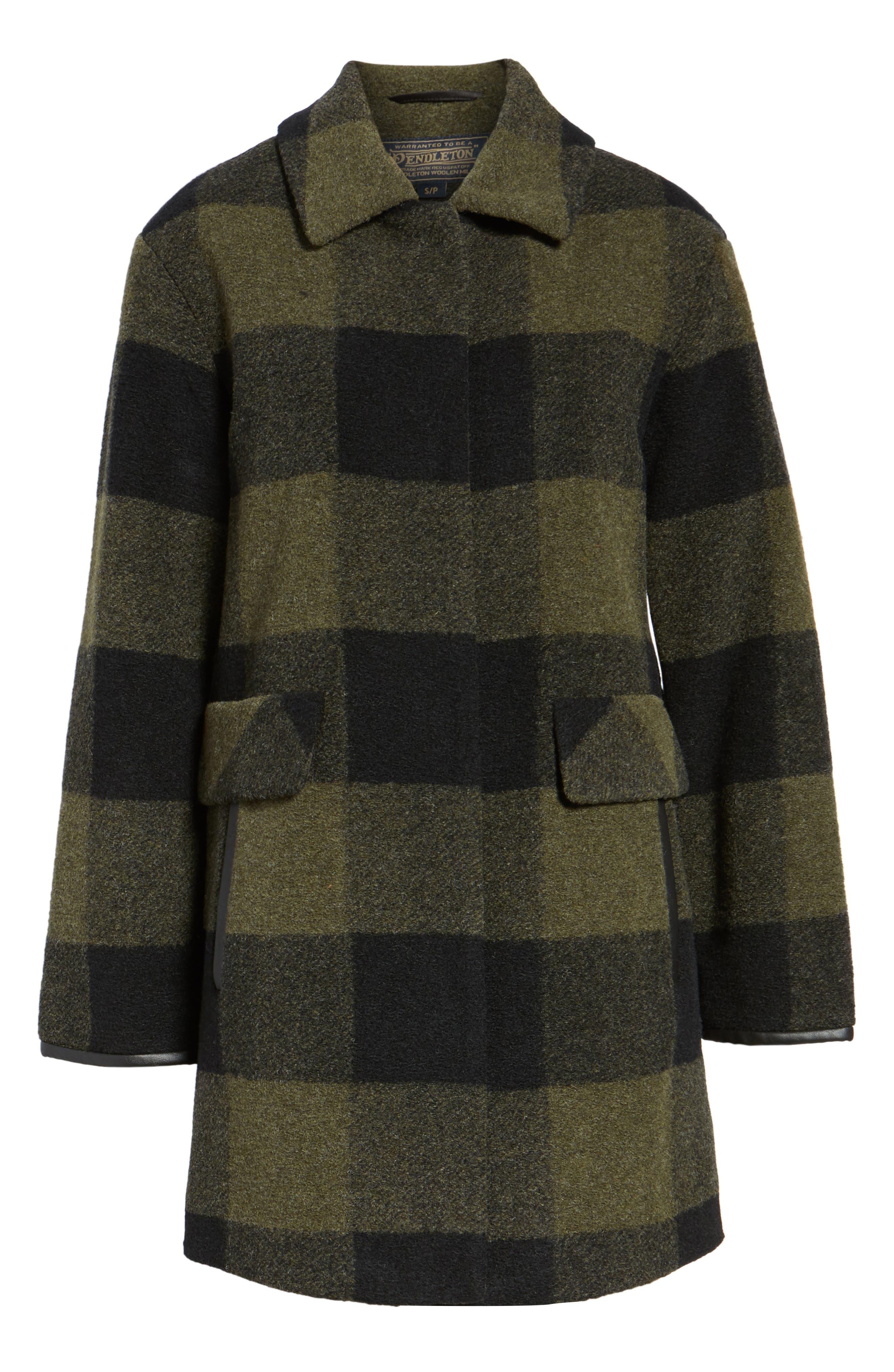Paul Bunyan Plaid Wool Blend Barn Coat,                             Alternate thumbnail 6, color,                             Olive/ Black Plaid