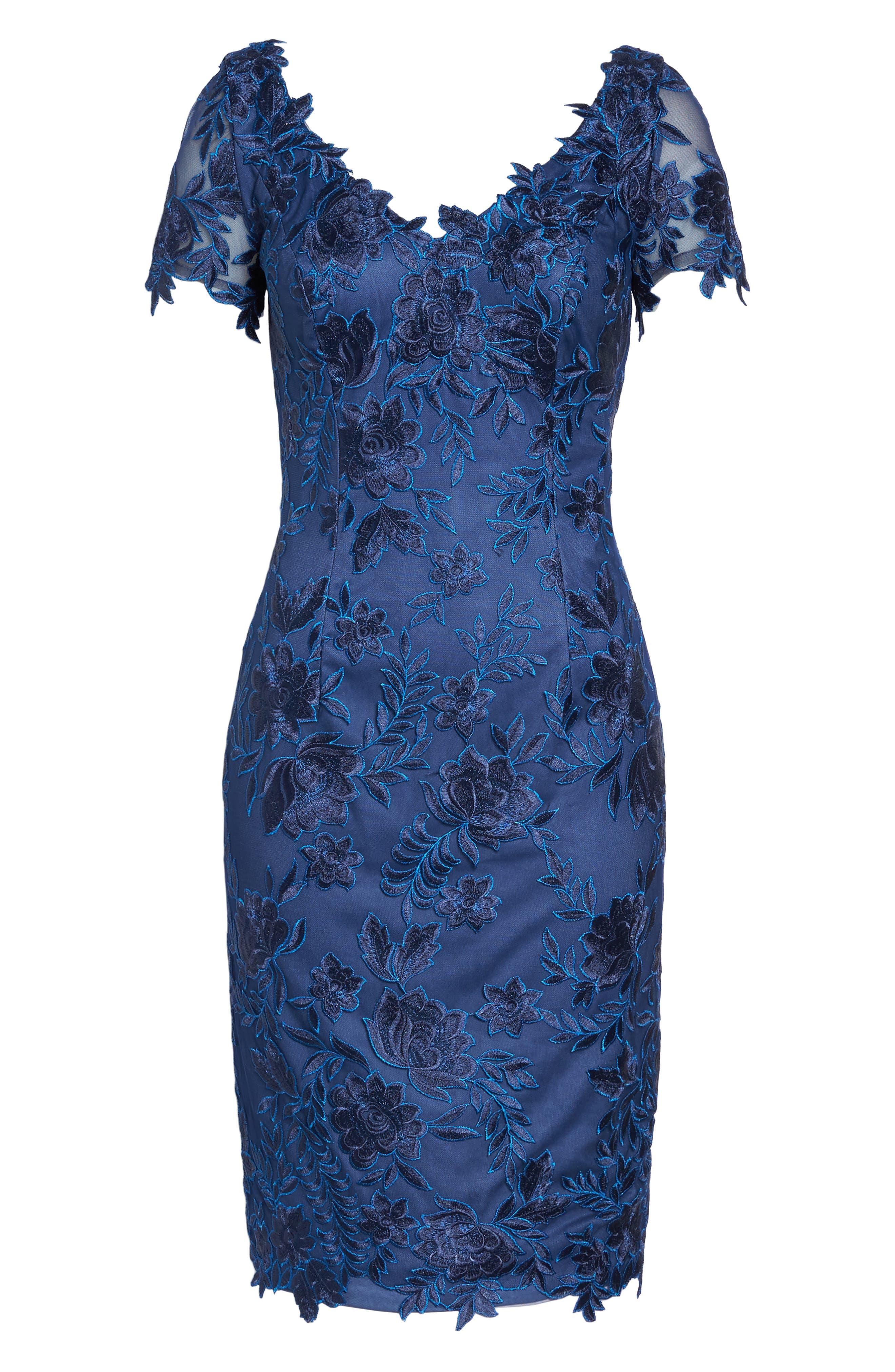 Alternate Image 6  - La Femme Lace Sheath Dress