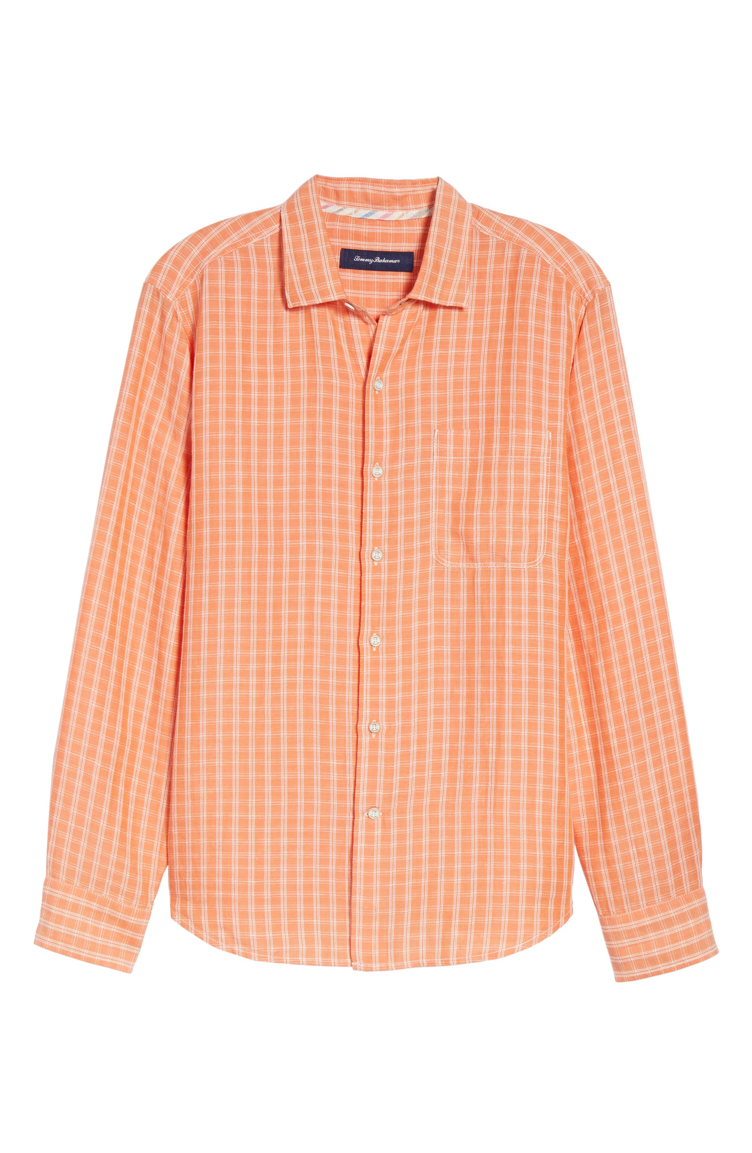 Plaid Sand Linen Blend Sport Shirt,                             Alternate thumbnail 6, color,                             Curuba