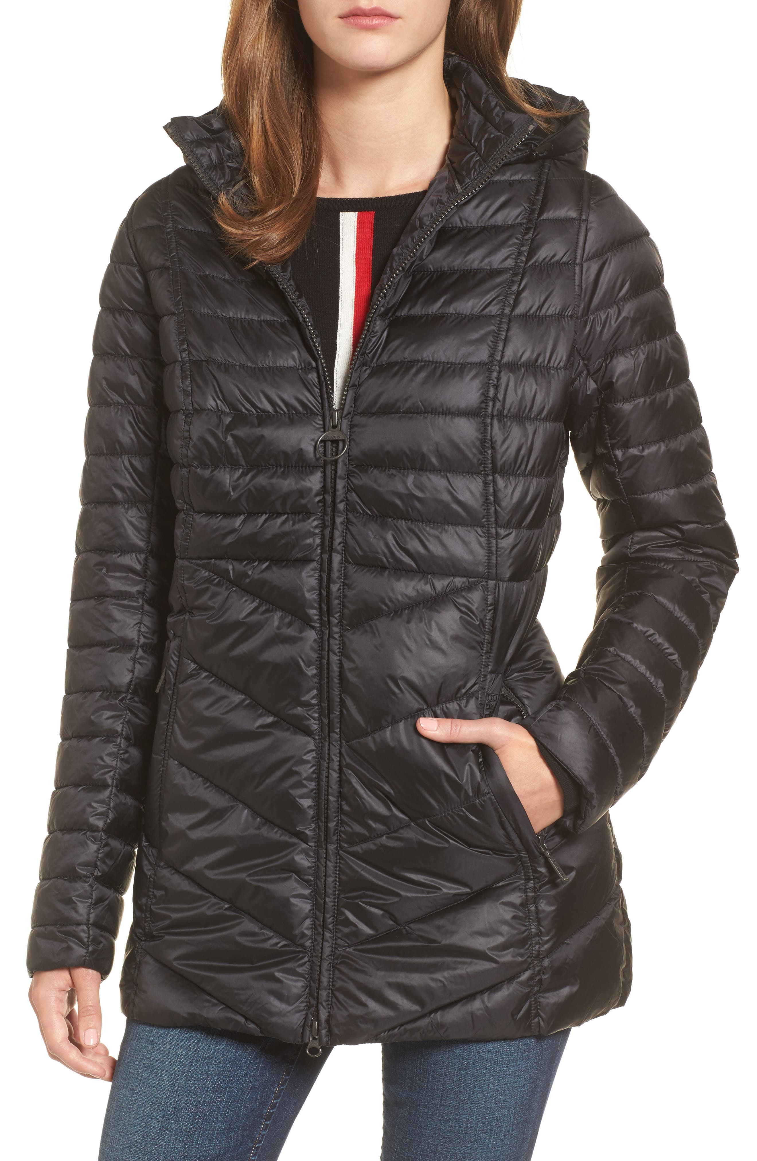 Linton Hooded Water Resistant Quilted Jacket,                         Main,                         color, Black
