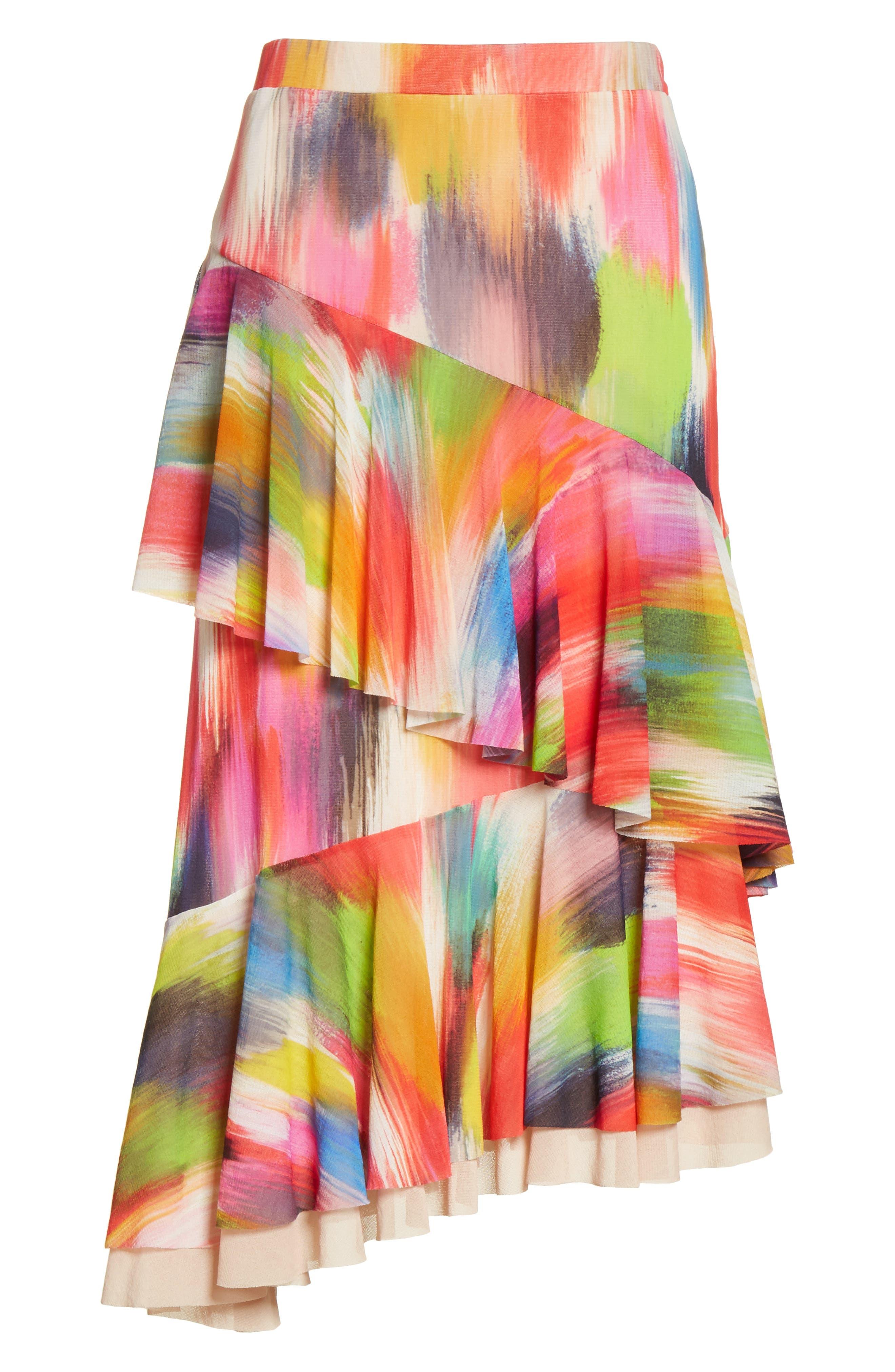 Alternate Image 6  - Fuzzi Ruffle Print Tulle Midi Skirt