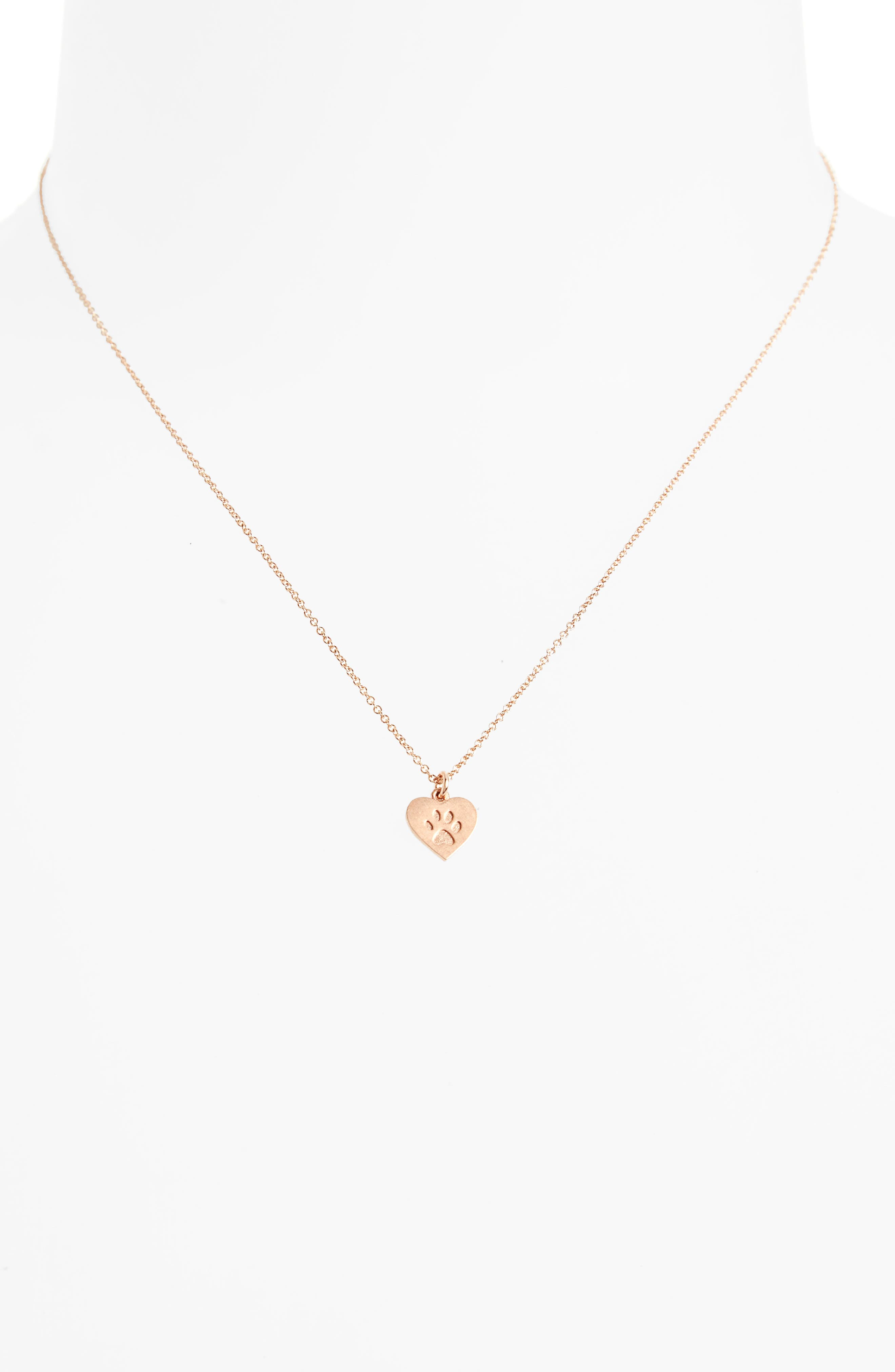 Animal Lover Best Friends Paw Charm Pendant Necklace,                             Alternate thumbnail 2, color,                             Rose Gold