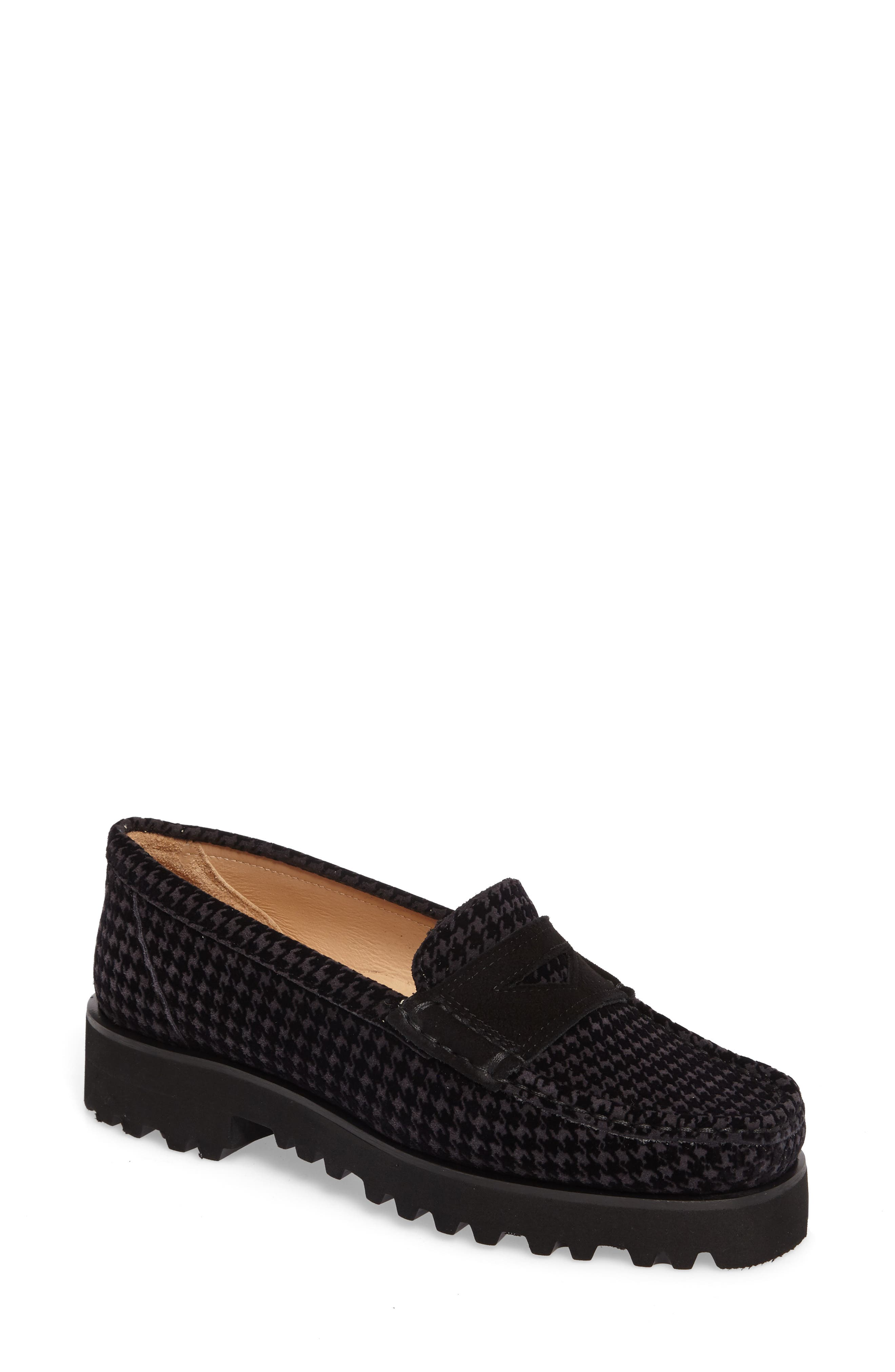 Rita Houndstooth Water Resistant Penny Loafer,                             Main thumbnail 1, color,                             Slate Printed Suede