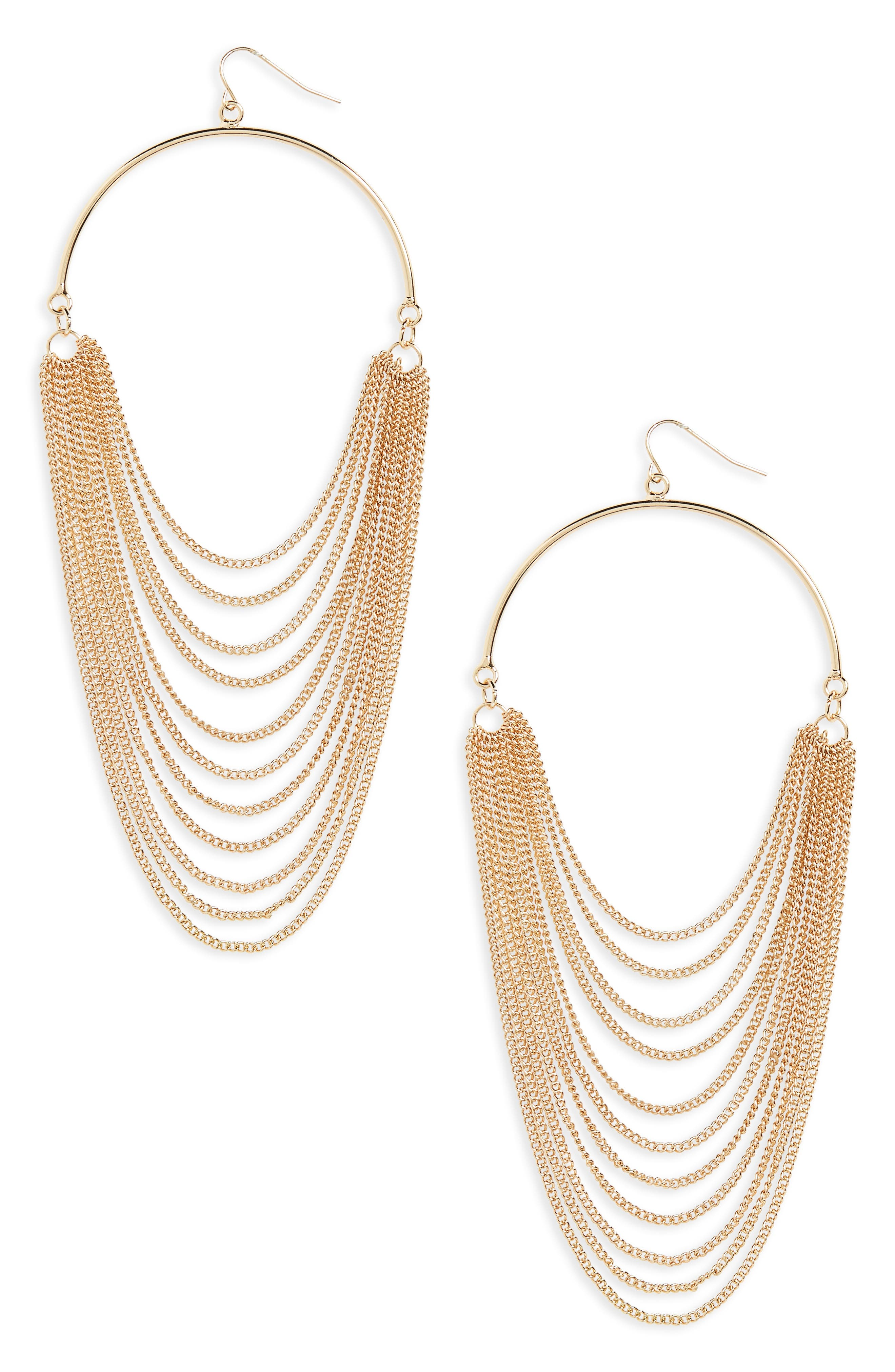 Layered Chain Hoop Earrings,                         Main,                         color, Gold