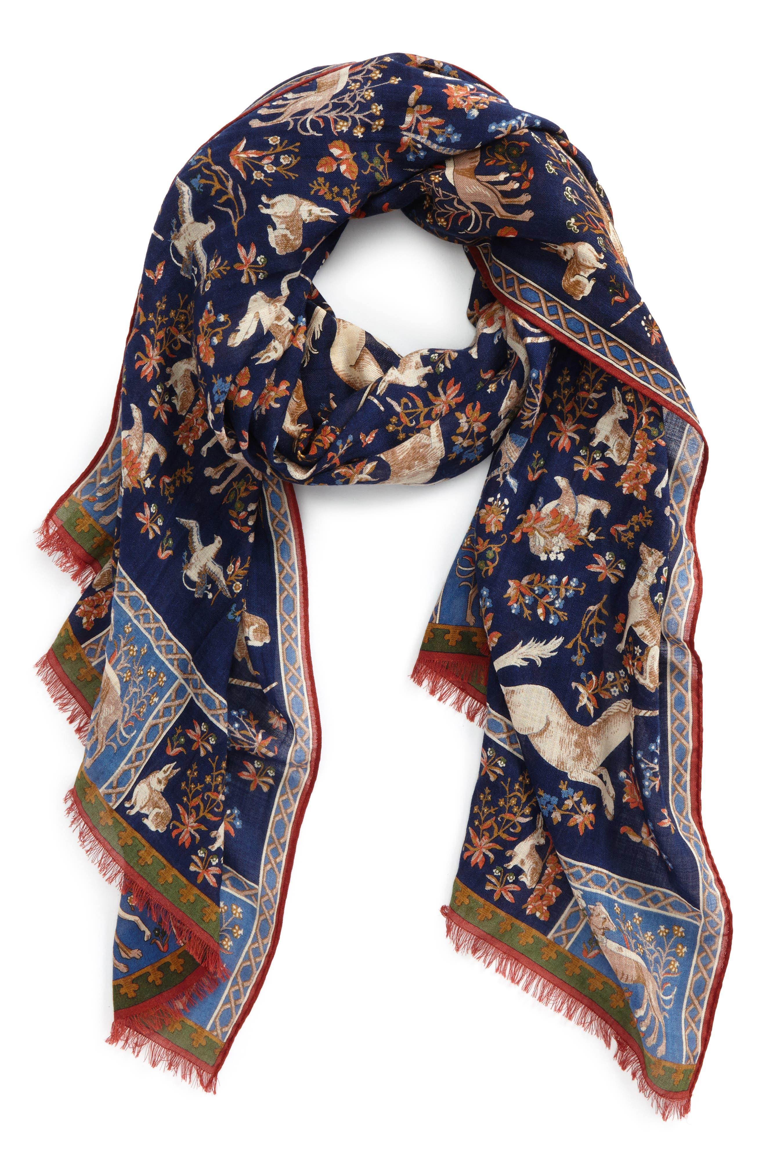 Unicorn Print Wool & Silk Scarf,                         Main,                         color, Navy Multi