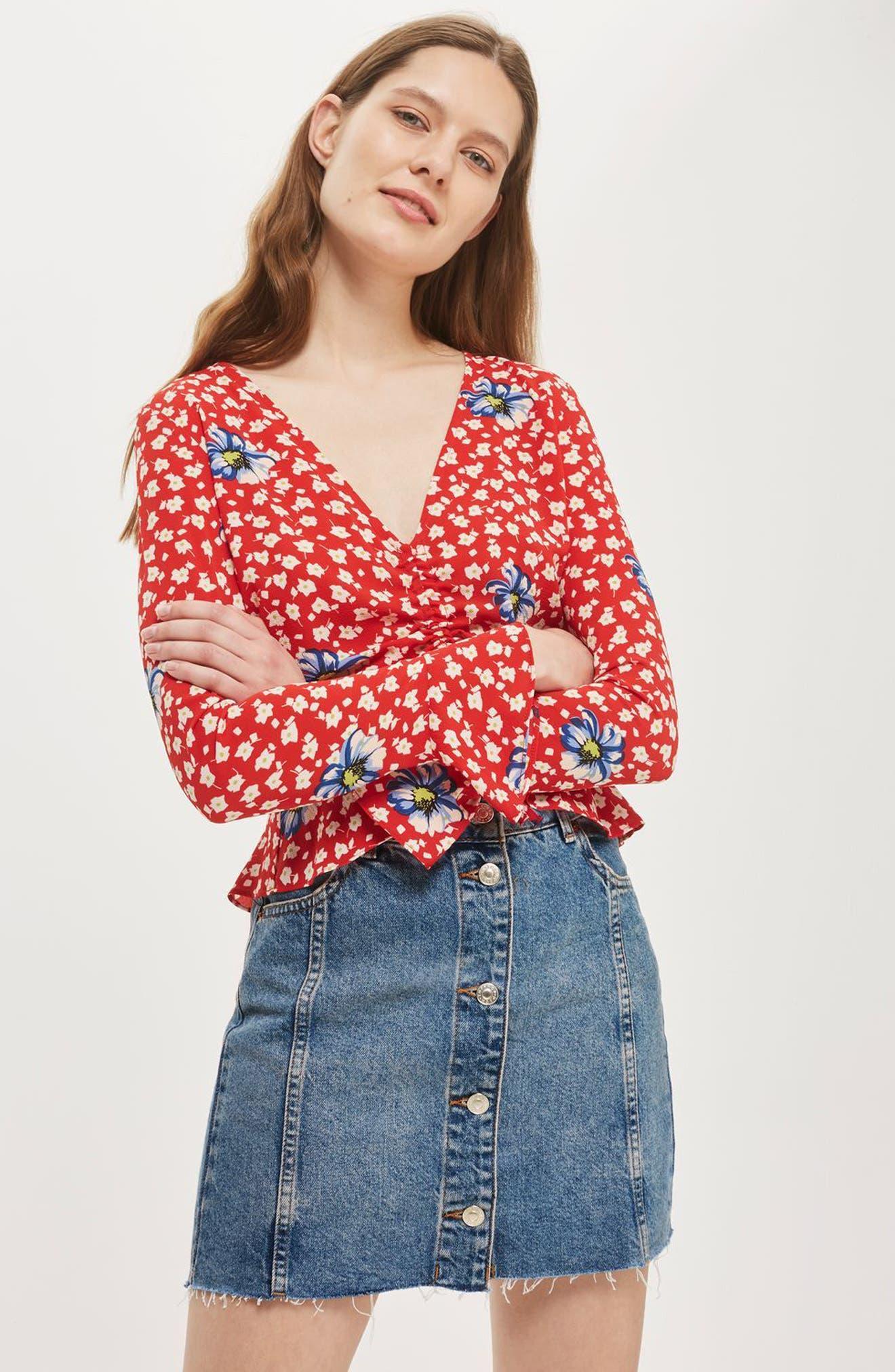 Alternate Image 3  - Topshop Button Denim Miniskirt