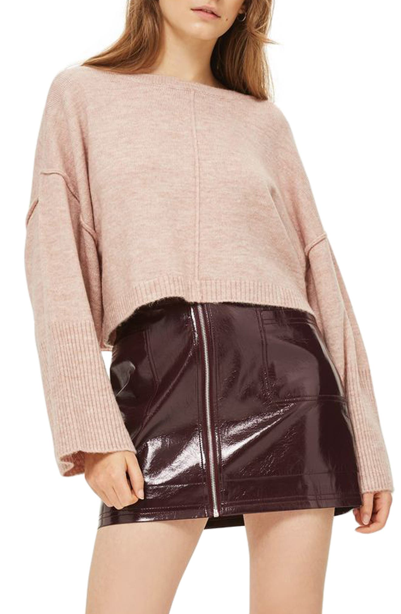 Wide Sleeve Crop Sweater,                         Main,                         color, Blush