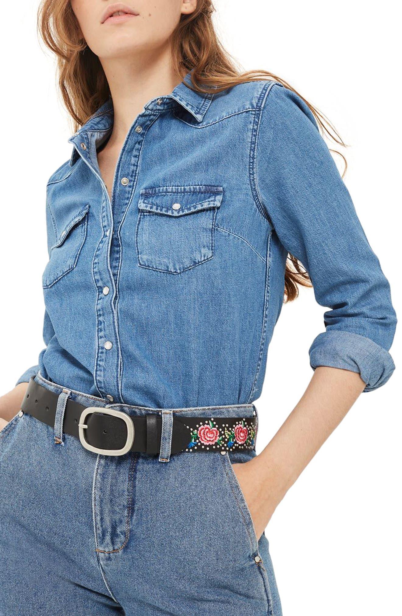 Alternate Image 1 Selected - Topshop Western Denim Shirt (Petite)
