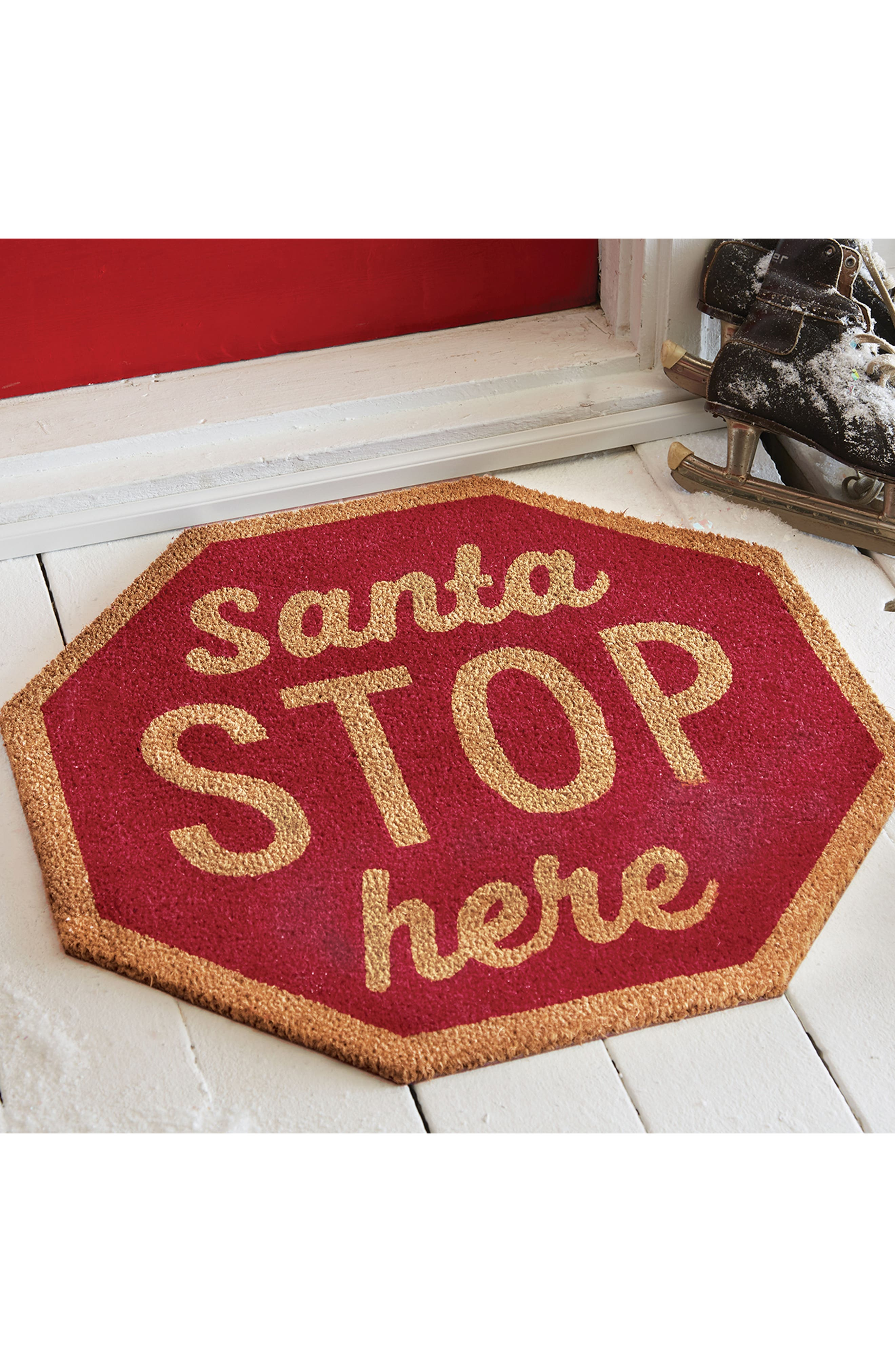 Santa Stop Here Coir Door Mat,                             Alternate thumbnail 2, color,                             Red