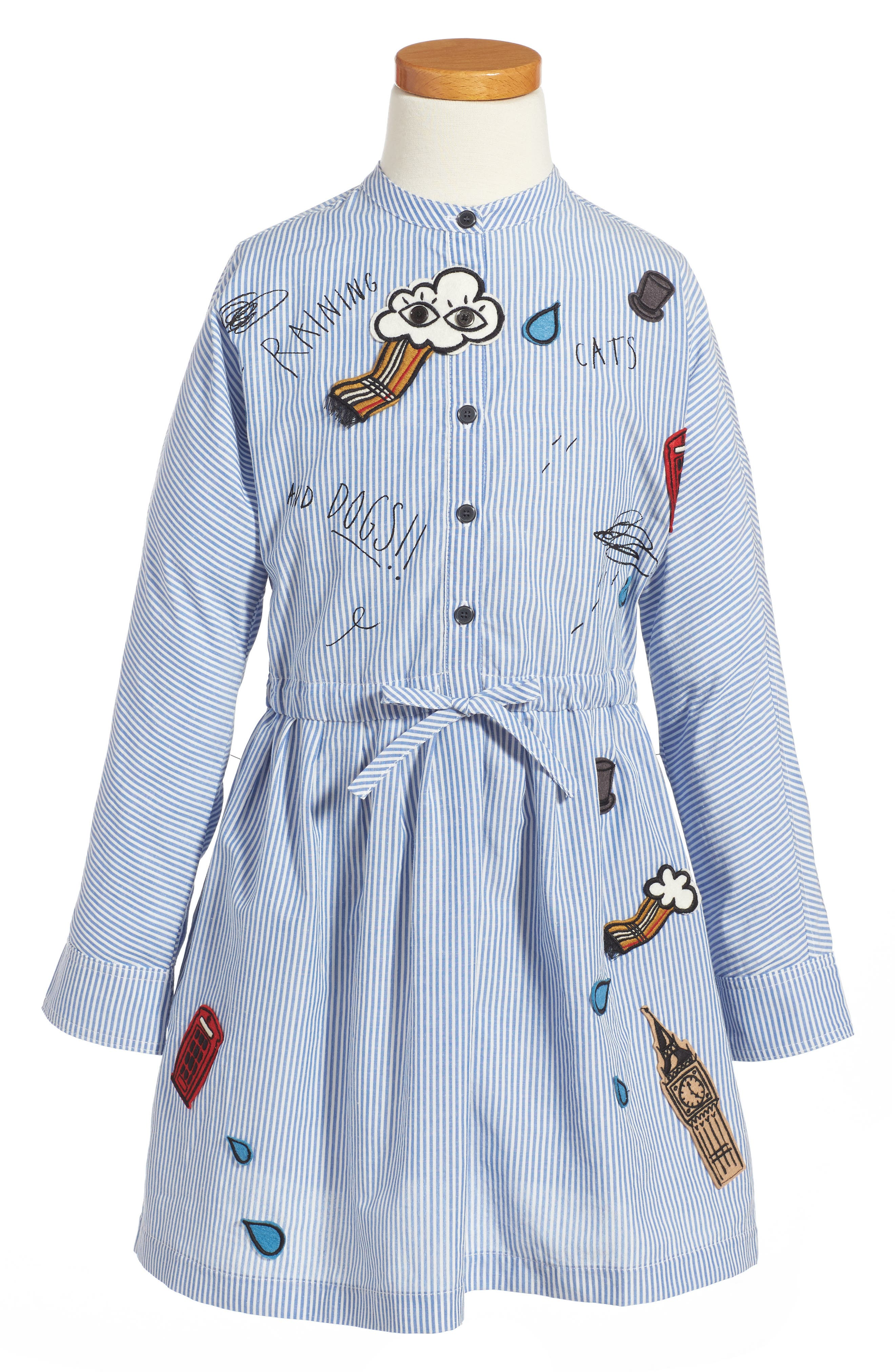 Alternate Image 1 Selected - Burberry Cristy Patch Dress (Little Girls & Big Girls)