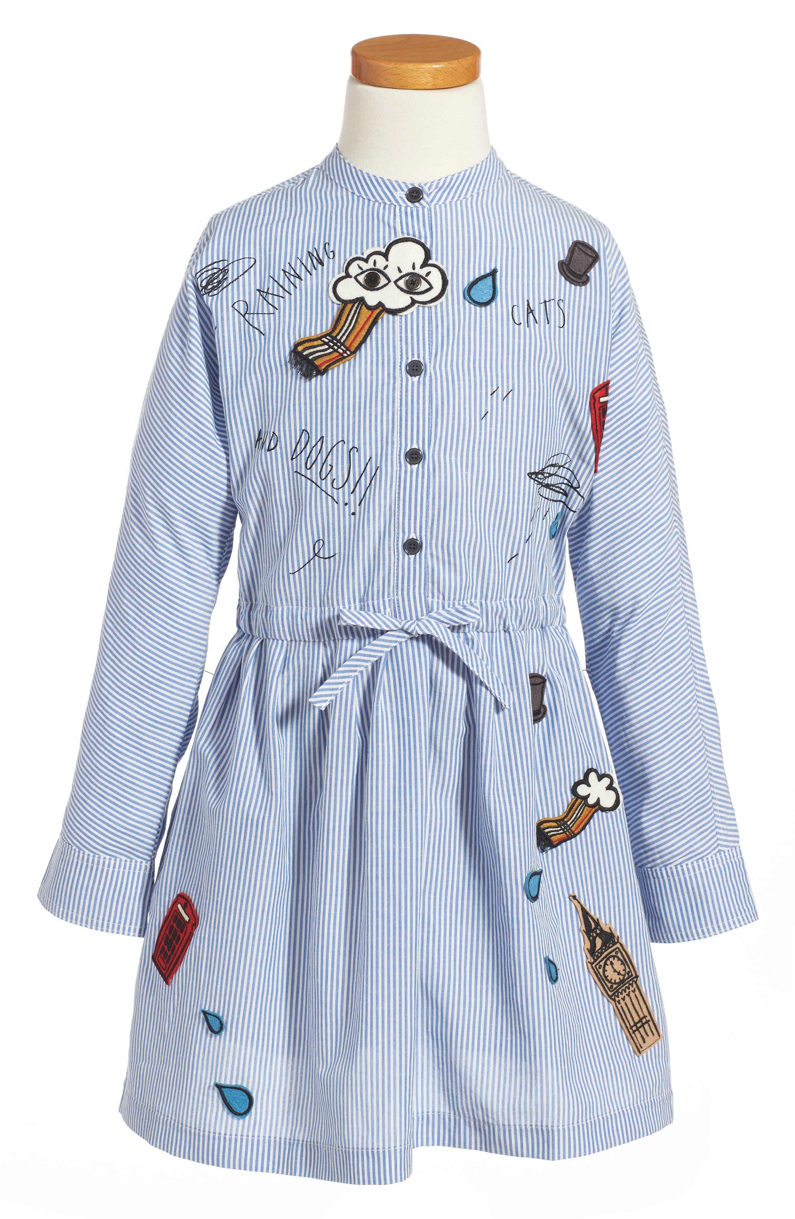 Cristy Patch Dress,                         Main,                         color, Pale Blue/ White