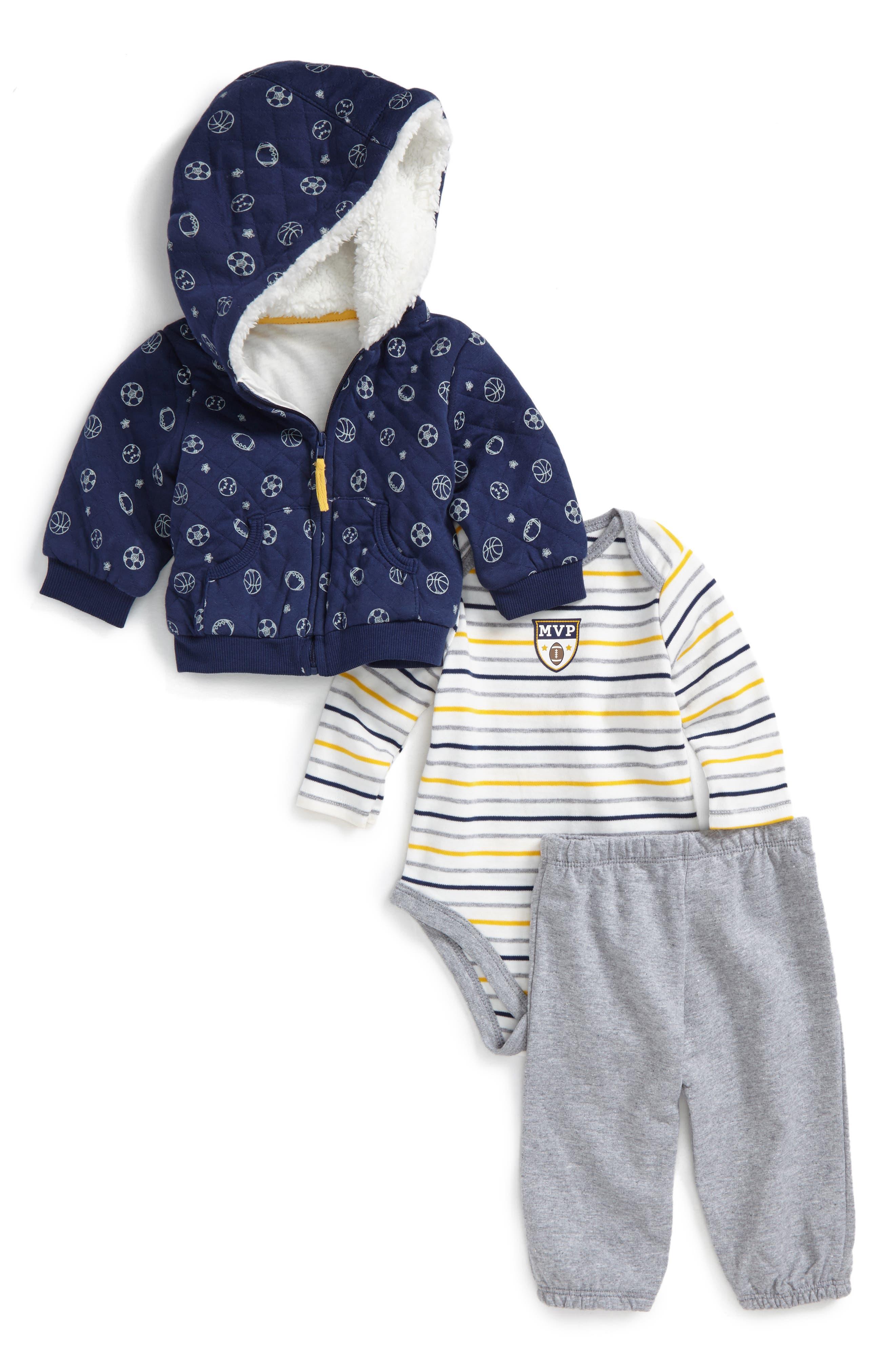Main Image - Little Me Sport Hoodie, Bodysuit & Pants Set (Baby Boys)