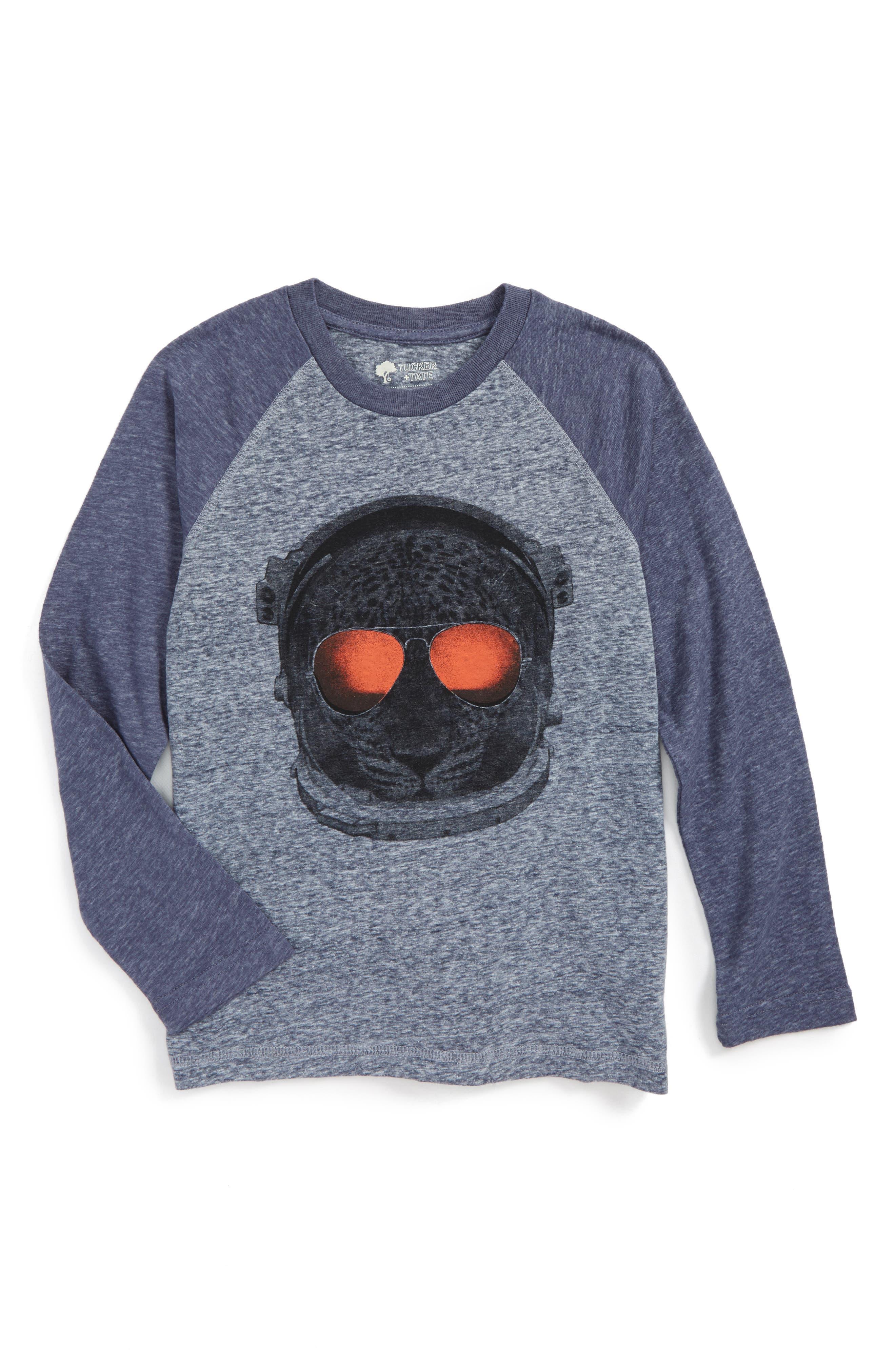 Graphic Baseball T-Shirt,                         Main,                         color, Blue Vintage Cheetah