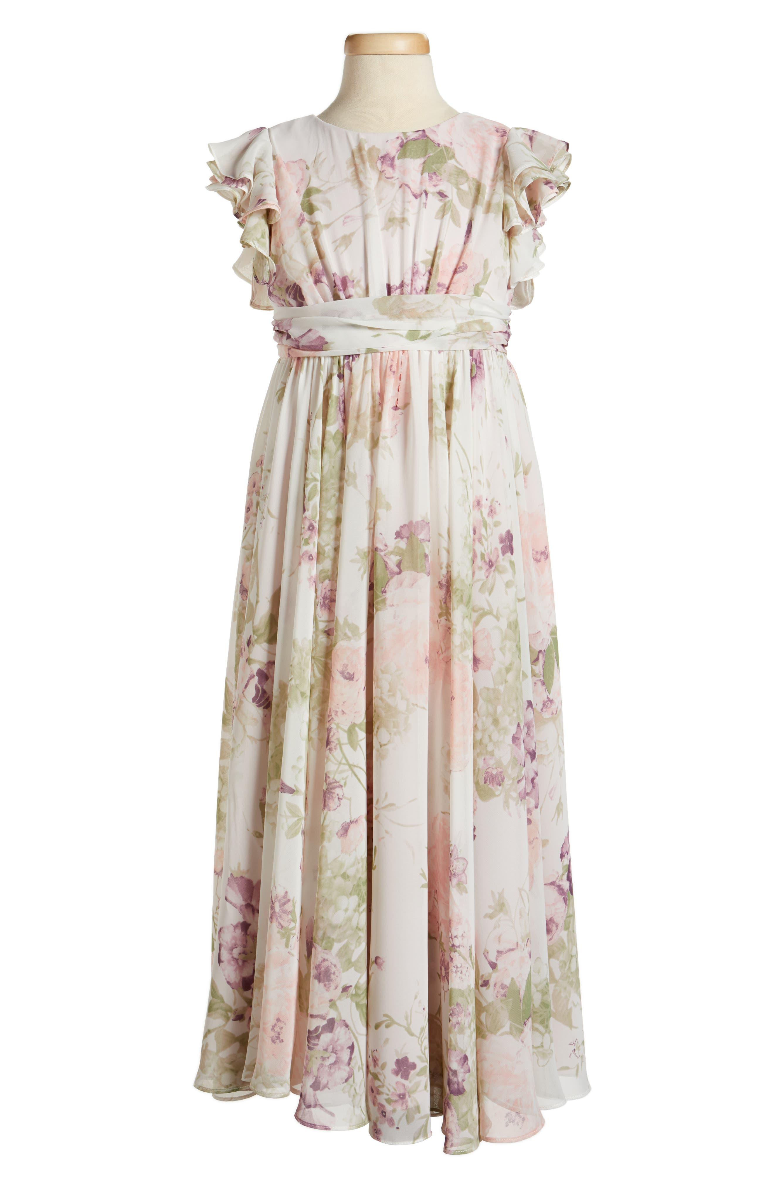 Main Image - Dessy Collection Flutter Sleeve Long Chiffon Flower Girl Dress (Toddler Girls, Little Girls & Big Girls)