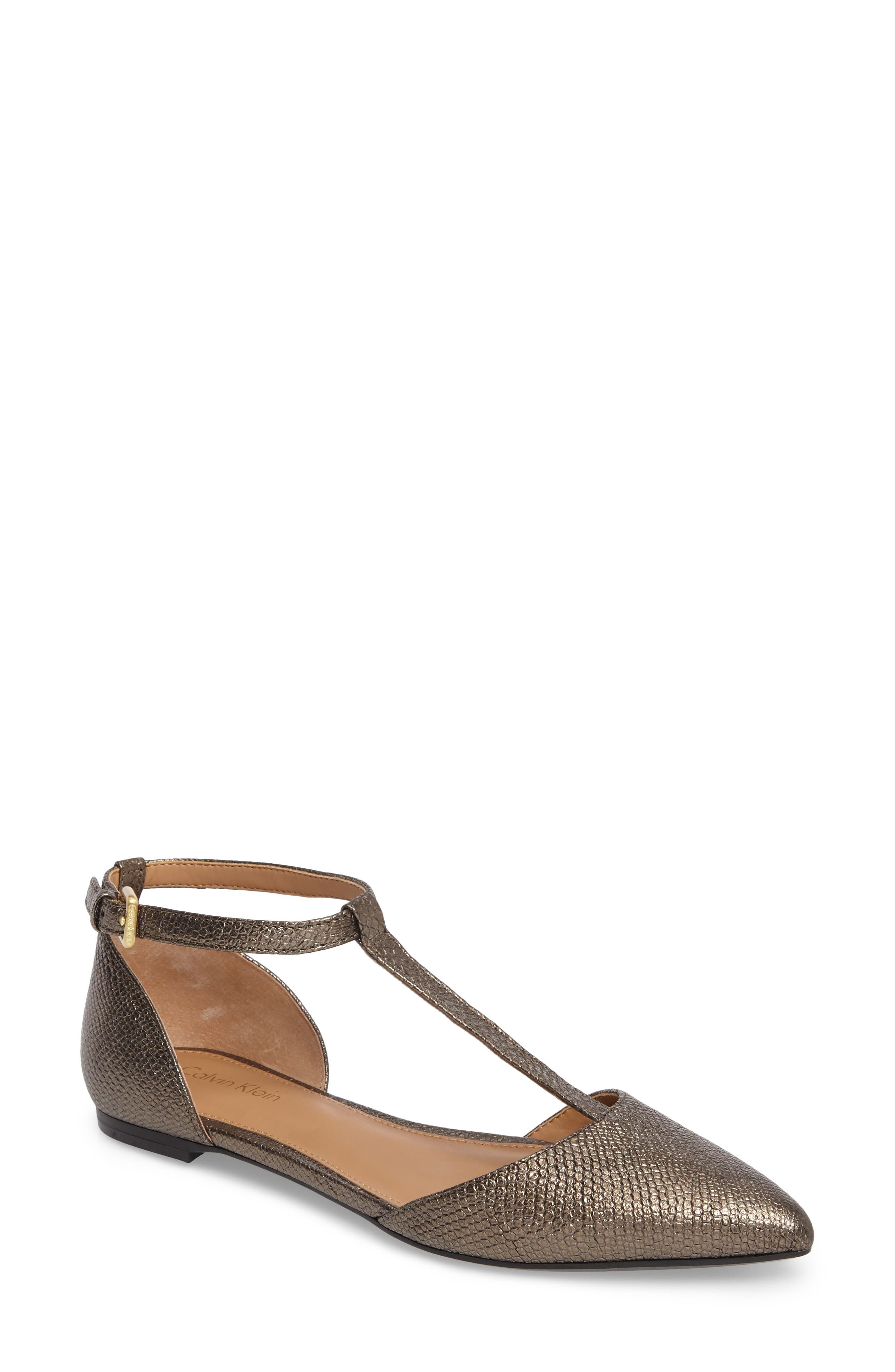 'Ghita' T-Strap Flat,                             Main thumbnail 1, color,                             Gold Foiled Leather