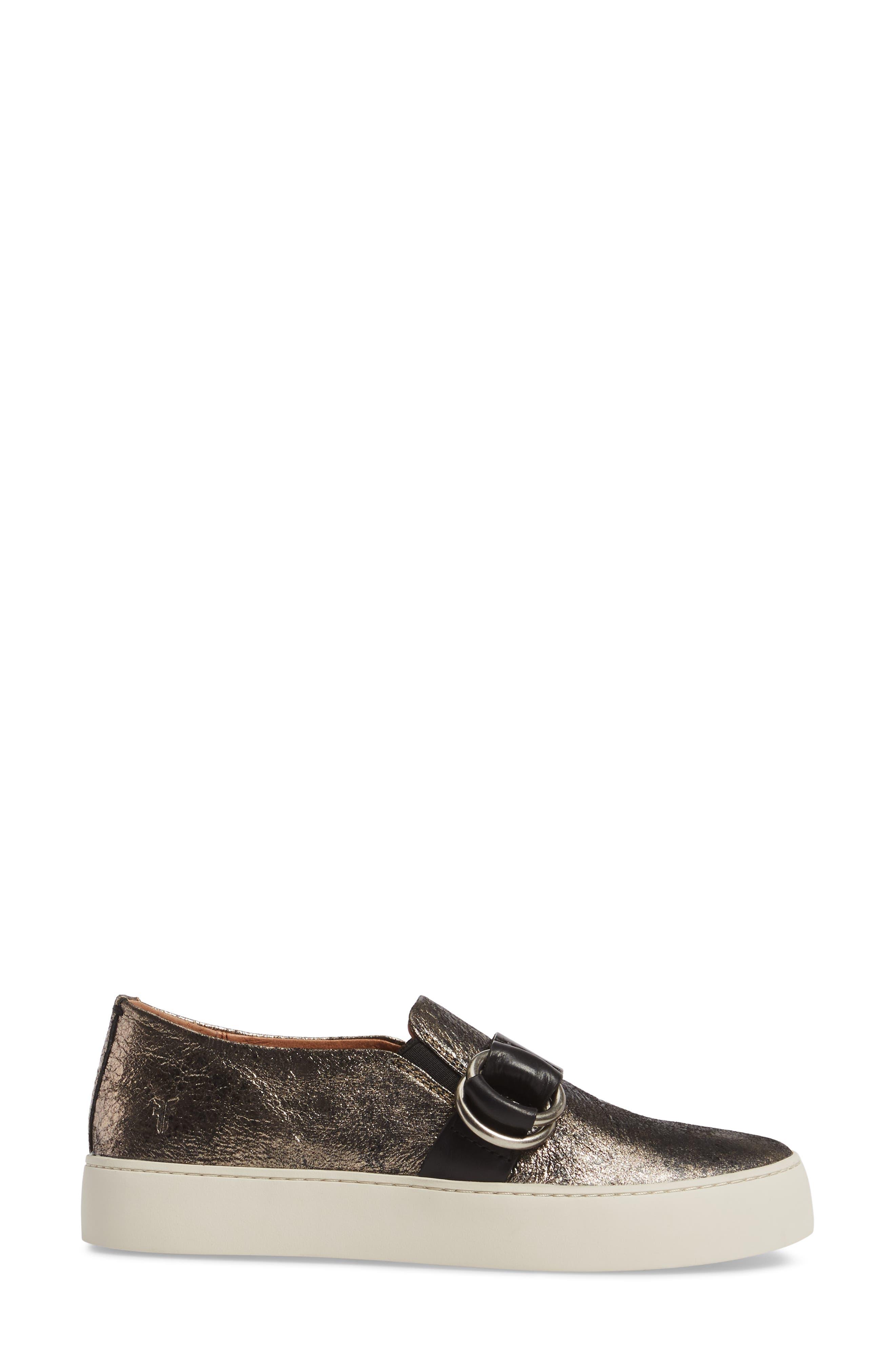Lena Harness Slip-On Sneaker,                             Alternate thumbnail 3, color,                             Gunmetal