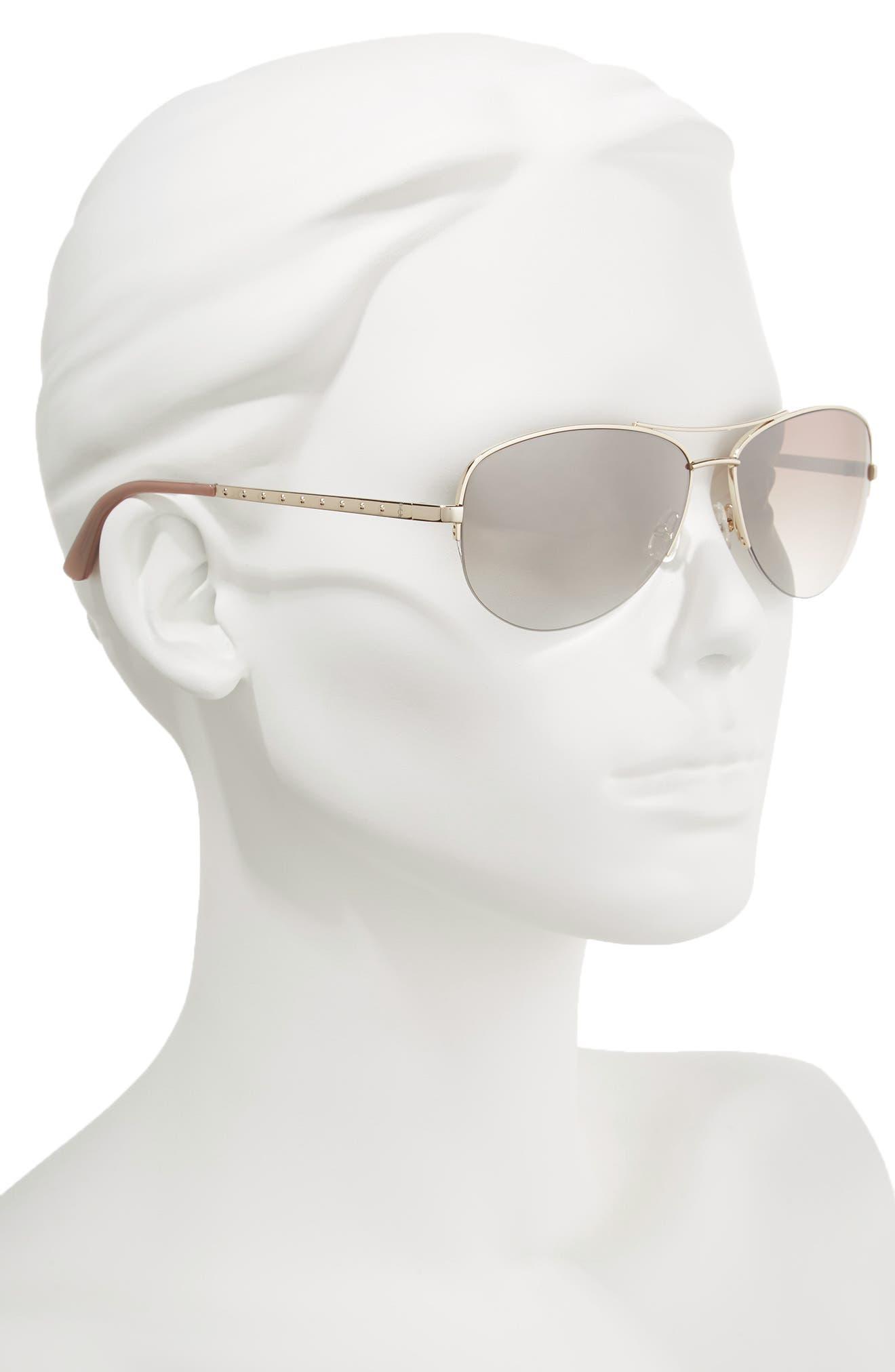 Black Label 60mm Gradient Aviator Sunglasses,                             Alternate thumbnail 2, color,                             Light Gold
