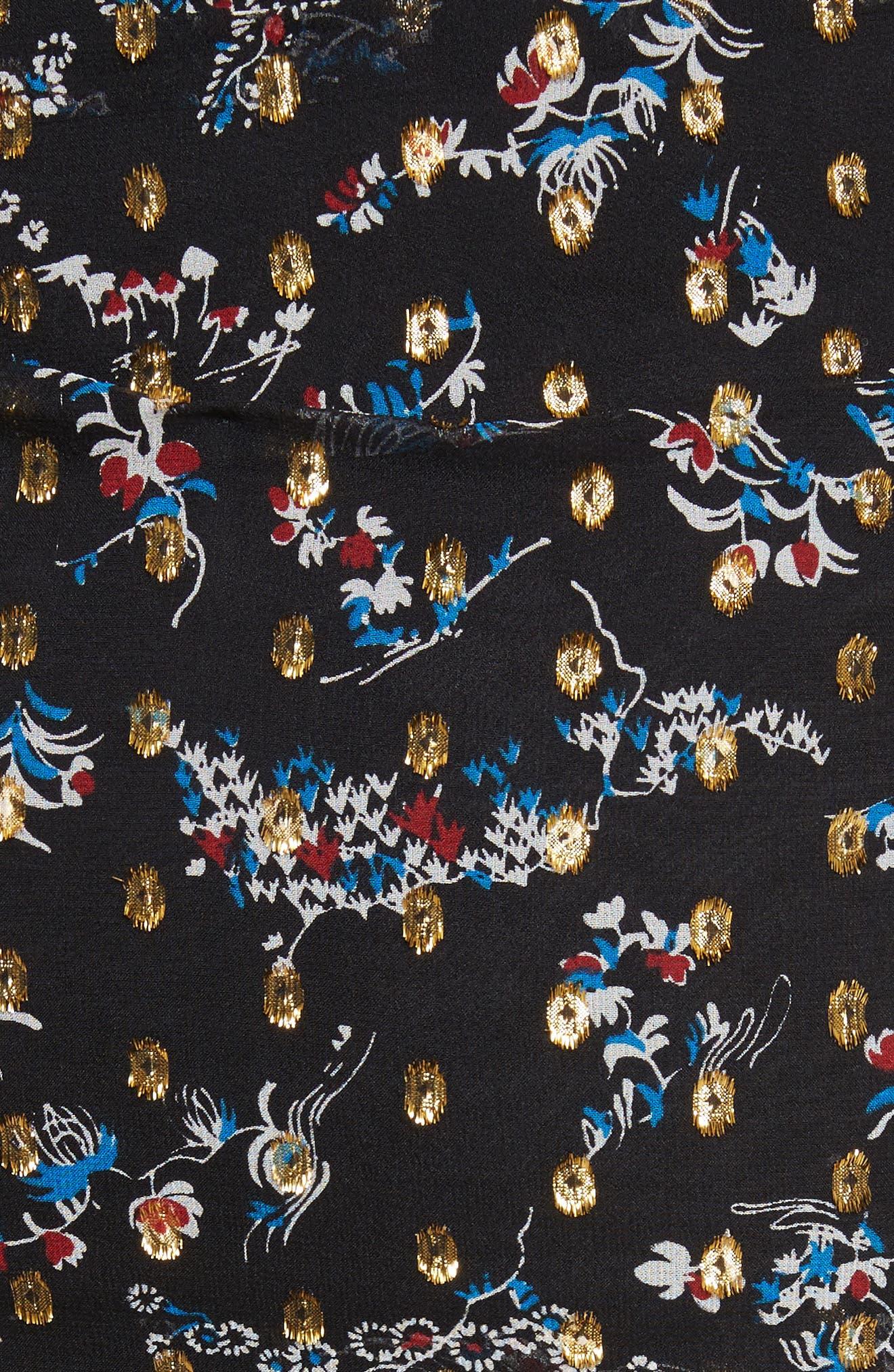 Alternate Image 6  - Veronica Beard Cella Metallic Floral Print Midi Skirt