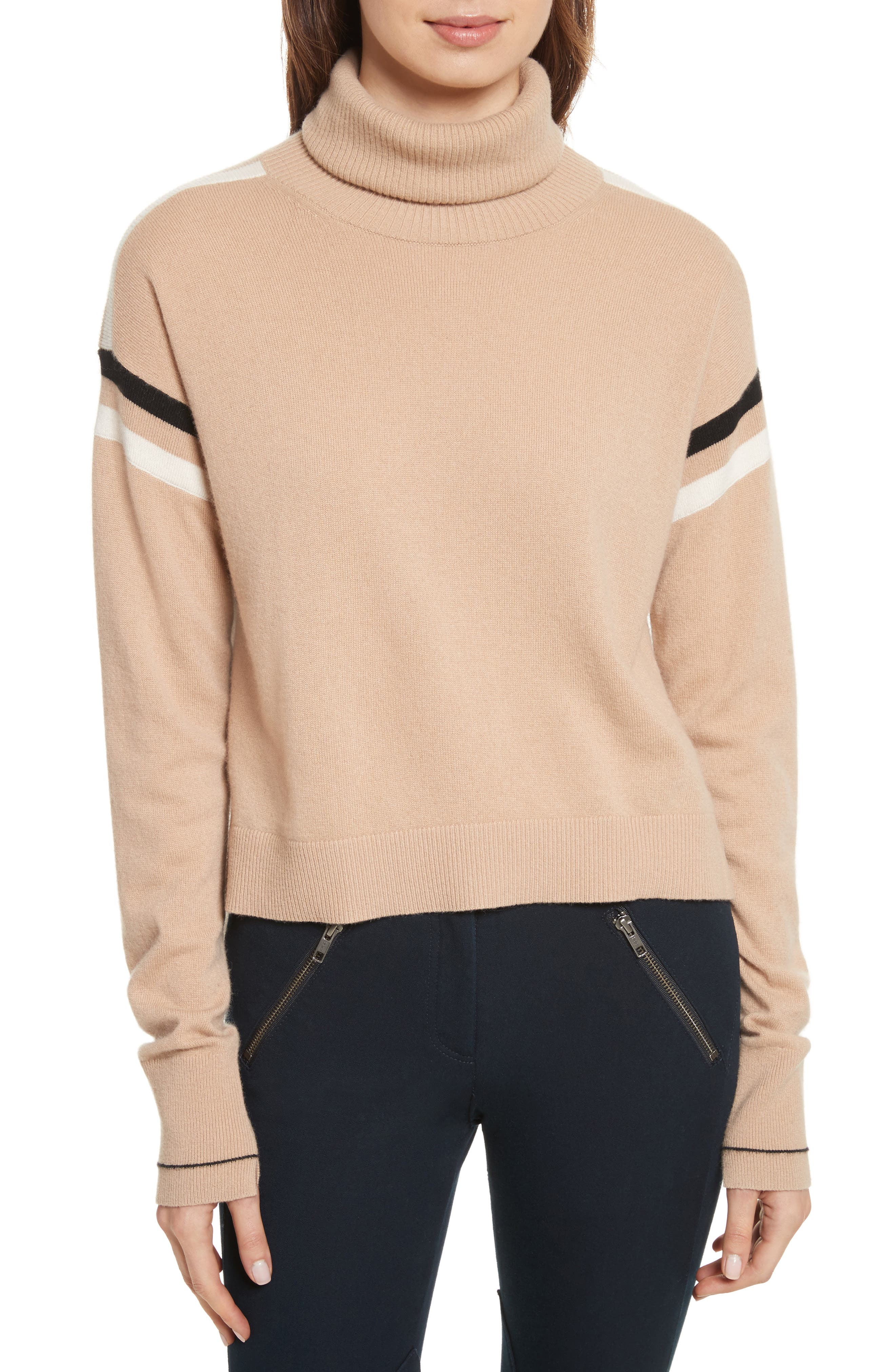 Canter Cashmere Turtleneck,                             Main thumbnail 1, color,                             Camel/ Ivory/ Black