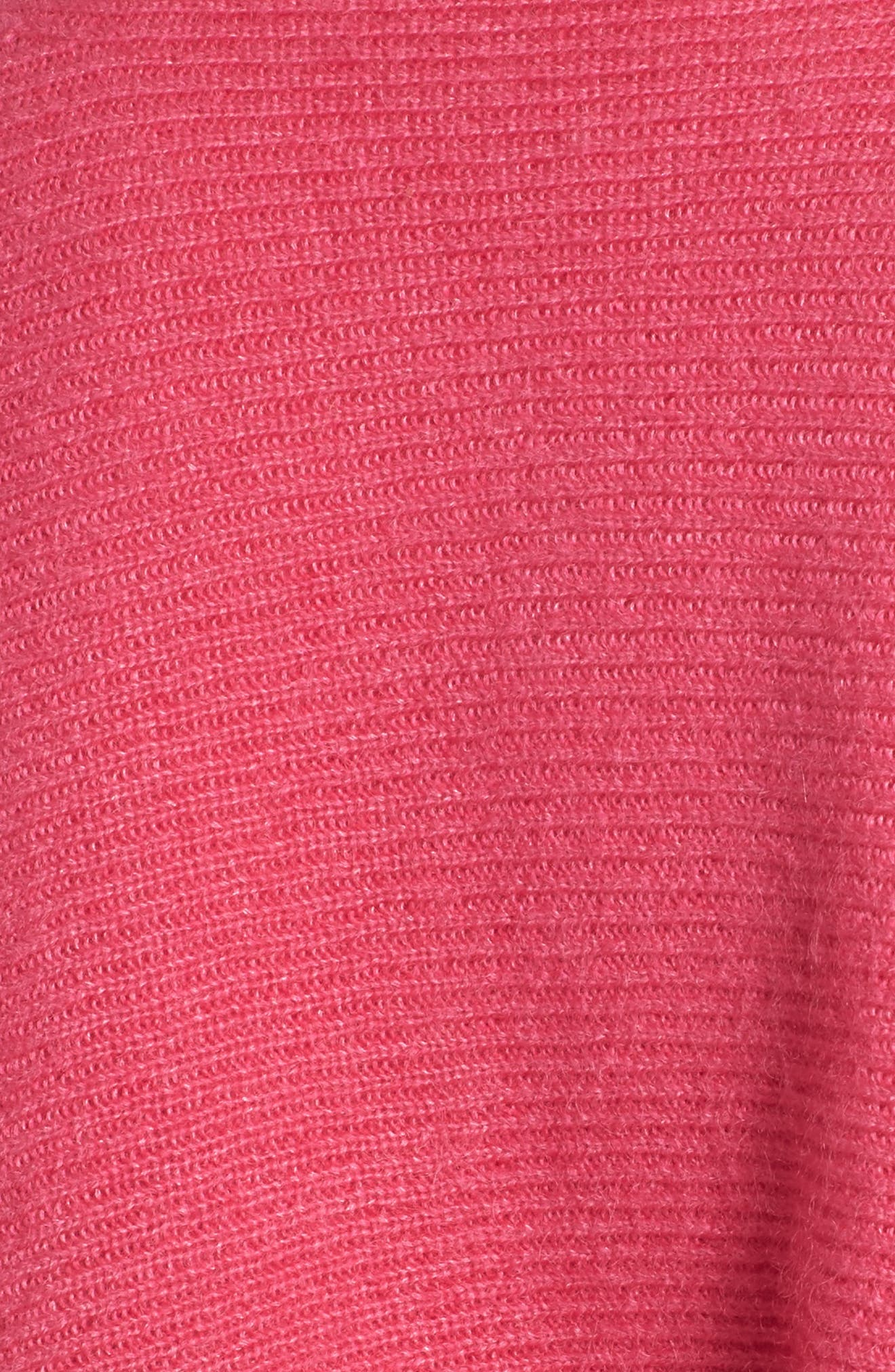Tie Back Sweater,                             Alternate thumbnail 5, color,                             Pink Rouge