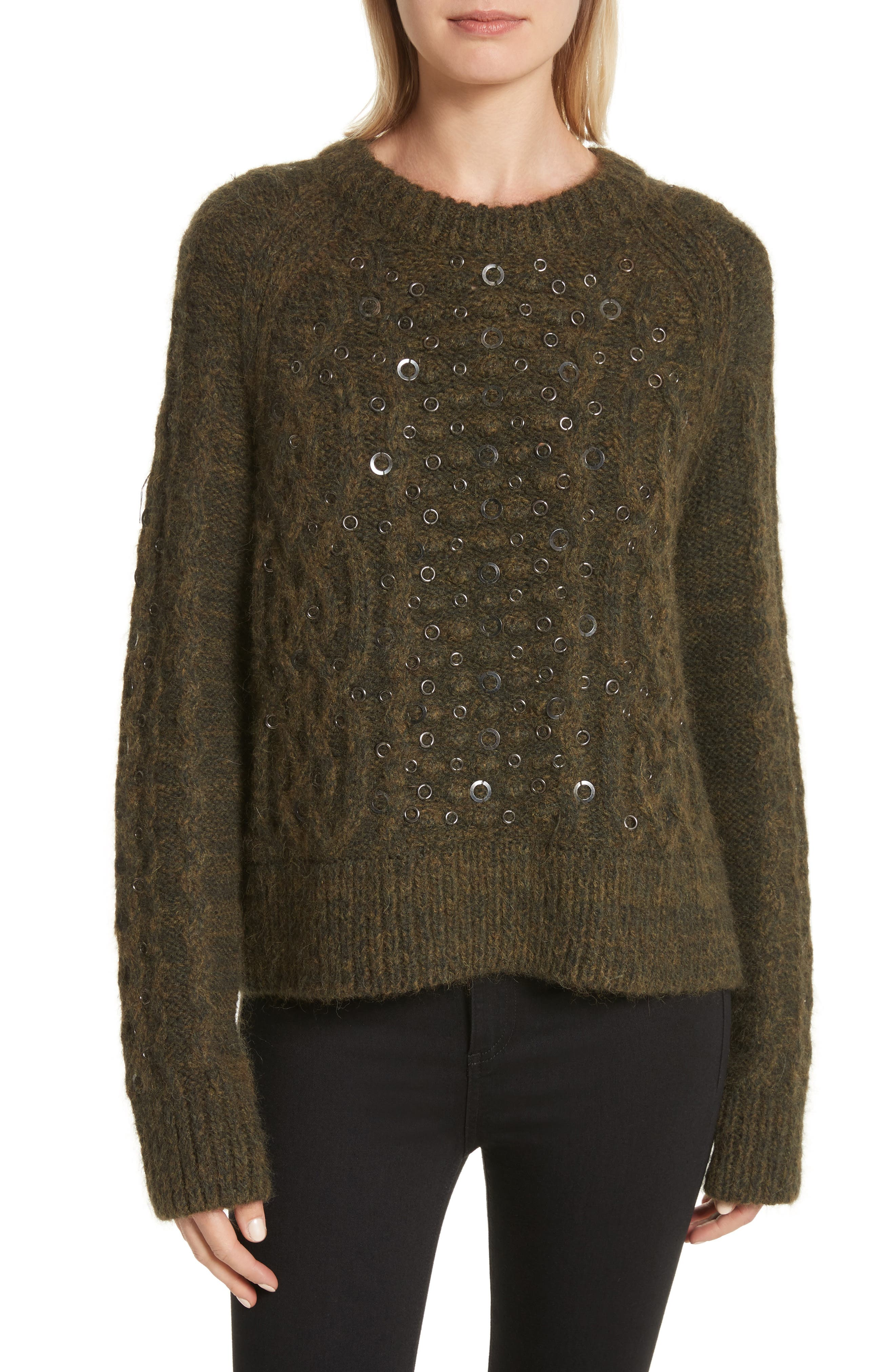 Jemima Wool & Alpaca Blend Beaded Sweater,                             Main thumbnail 1, color,                             Army