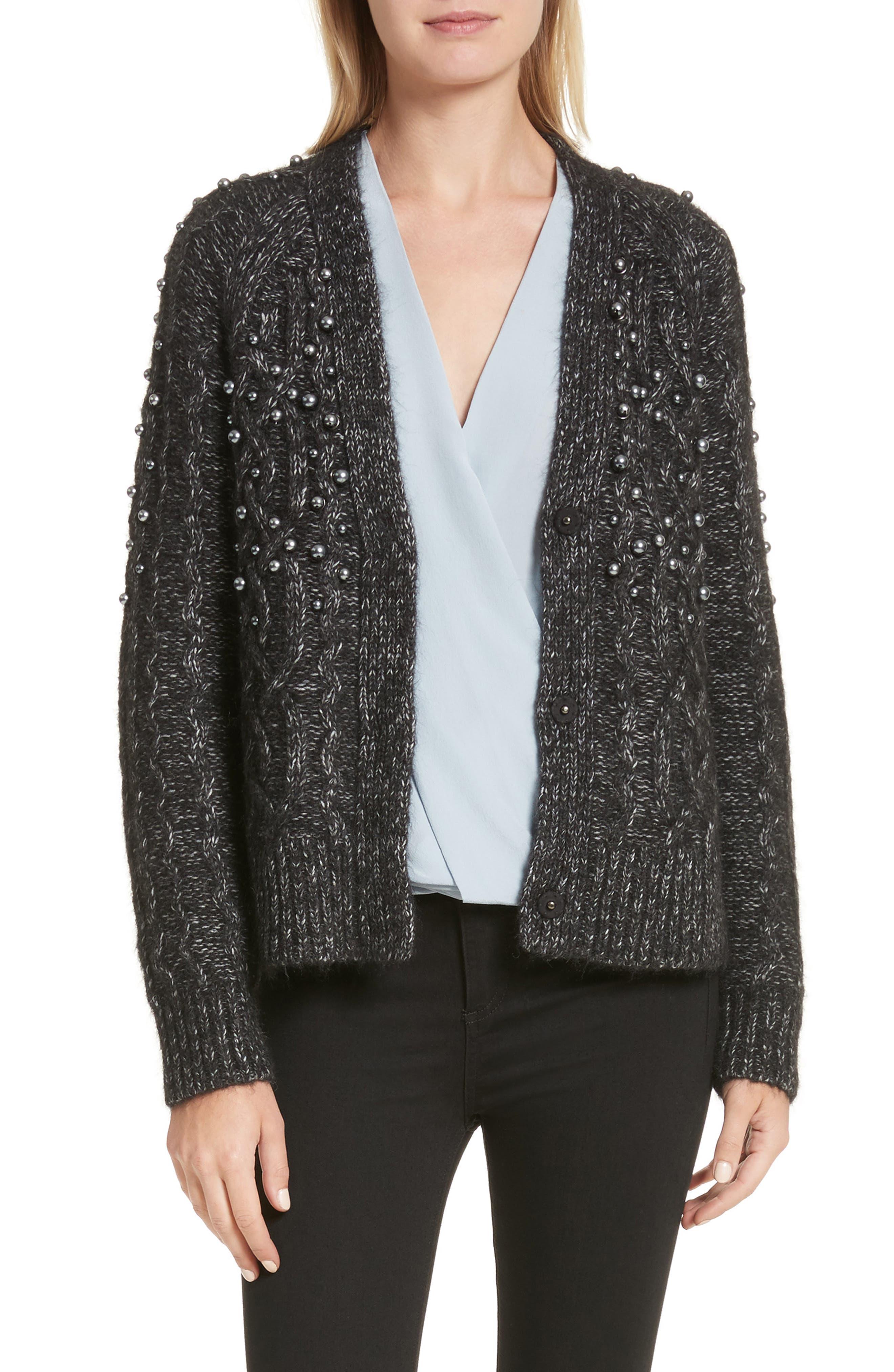 Jemma Imitation Pearl Embellished Cardigan,                         Main,                         color, Charcoal