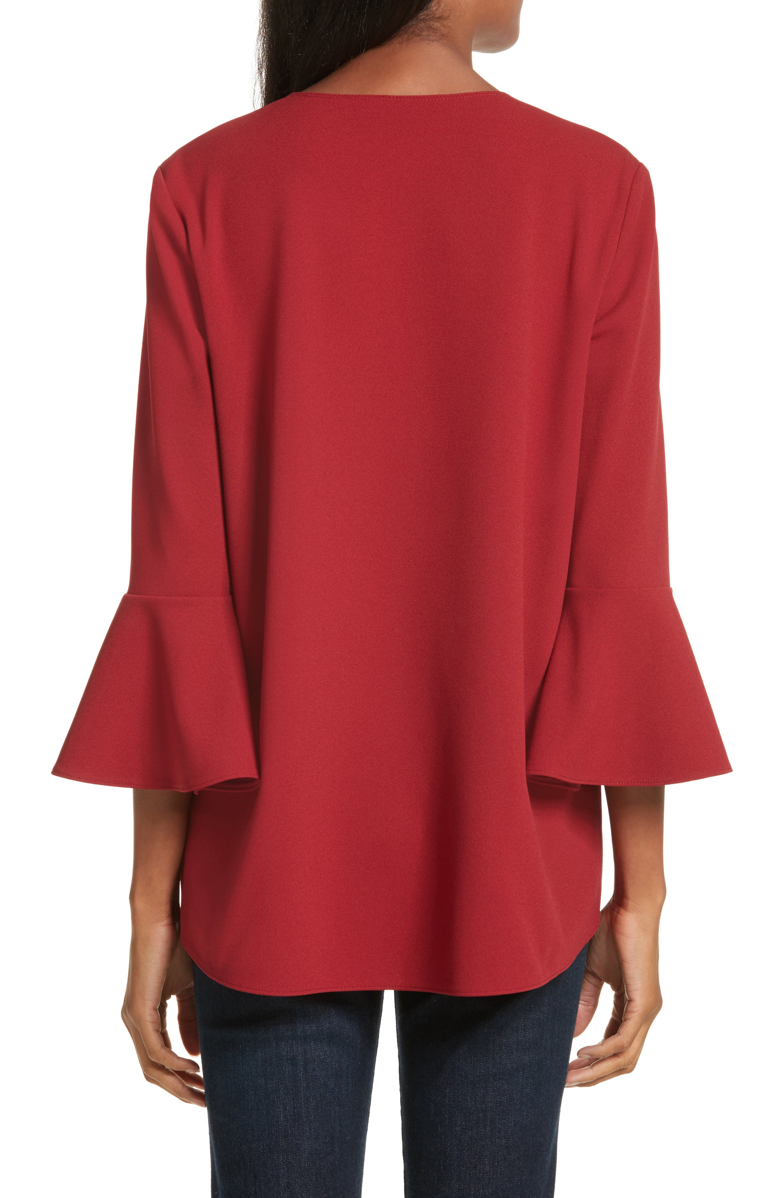 Ruffle Sleeve Stretch Crepe Top,                             Alternate thumbnail 2, color,                             Burt Red