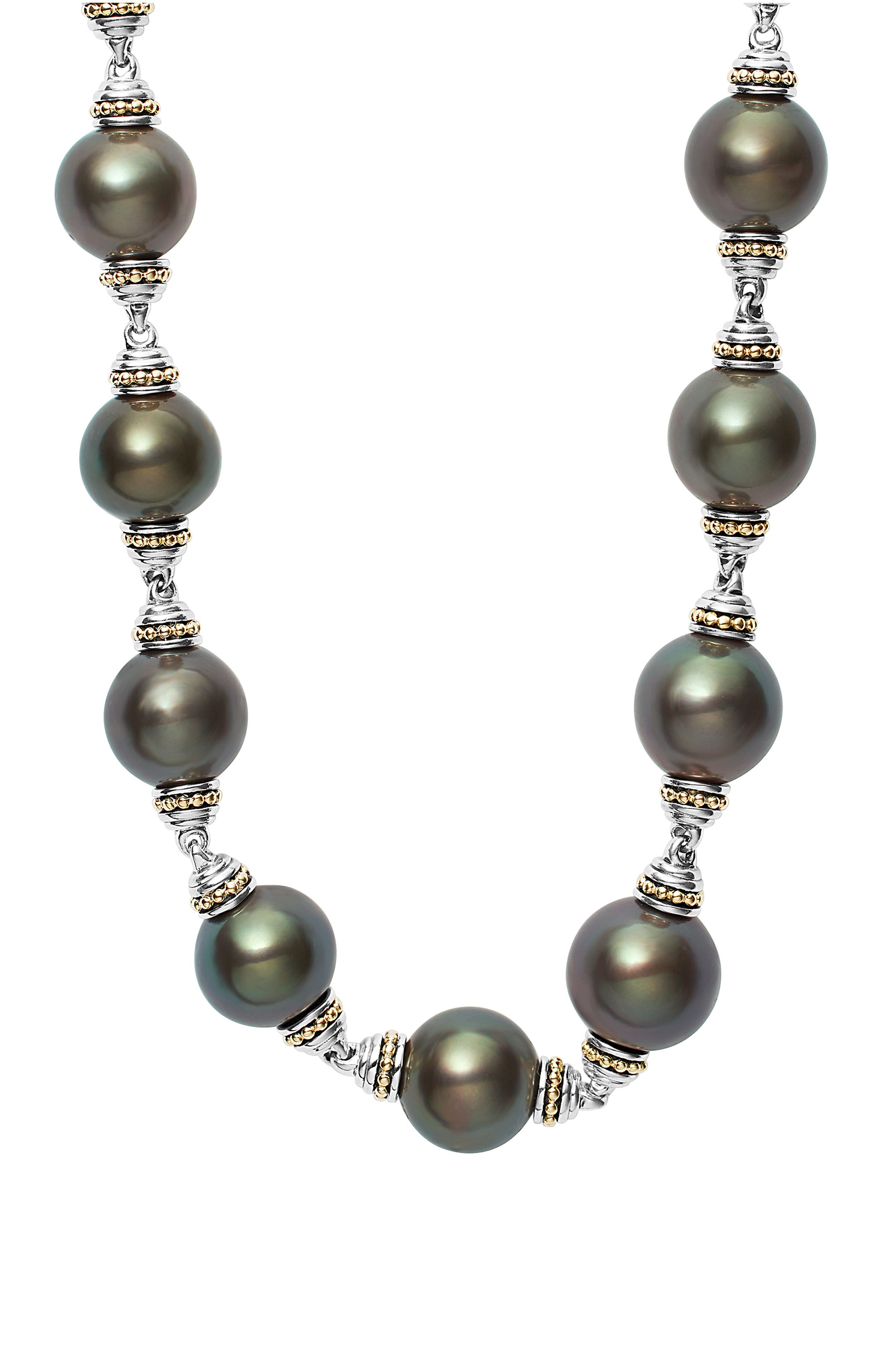 Pearl Station Necklace,                             Alternate thumbnail 3, color,                             Black Pearl