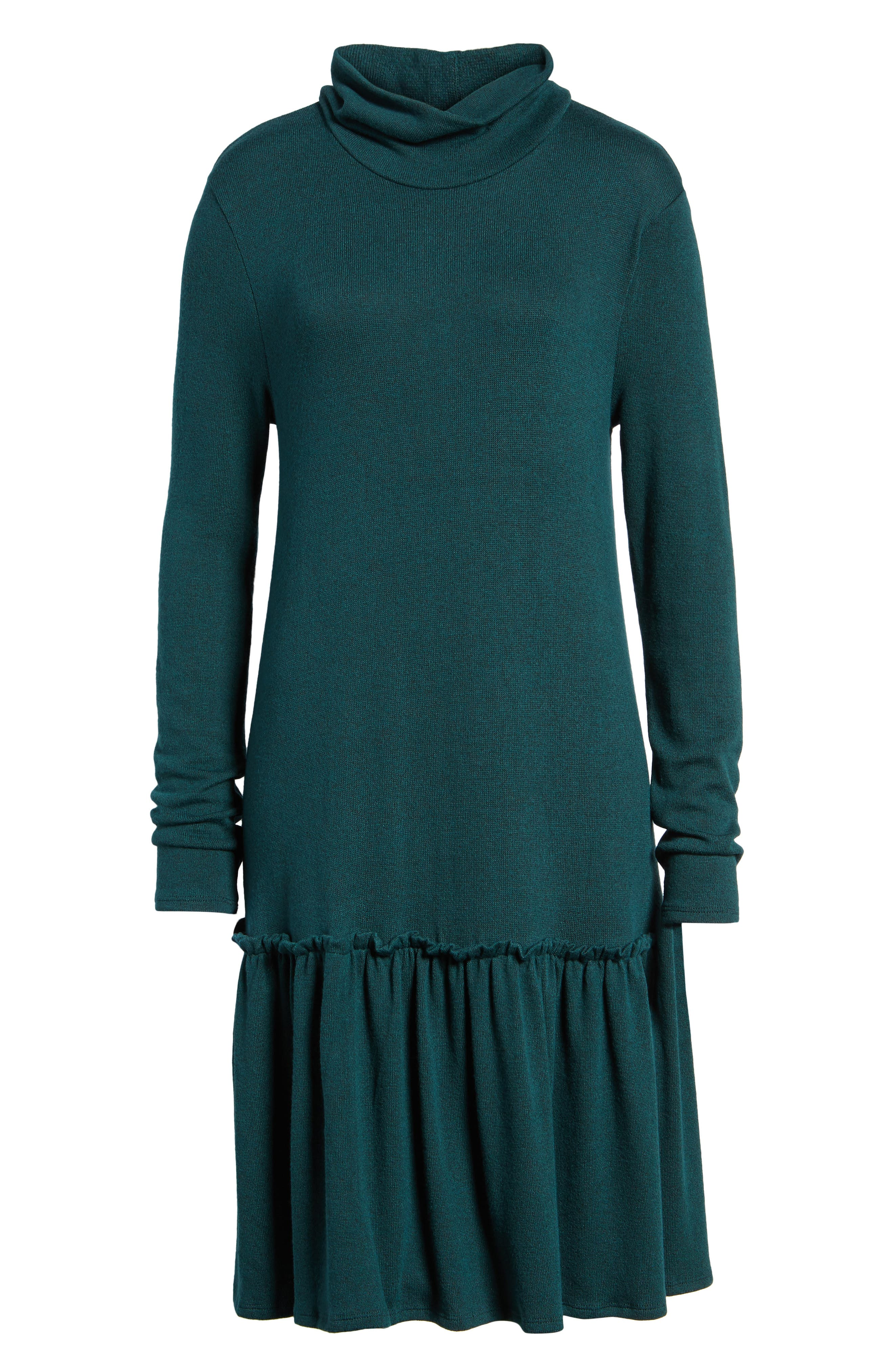 Alternate Image 6  - Halogen® Ruffle Hem Turtleneck Dress