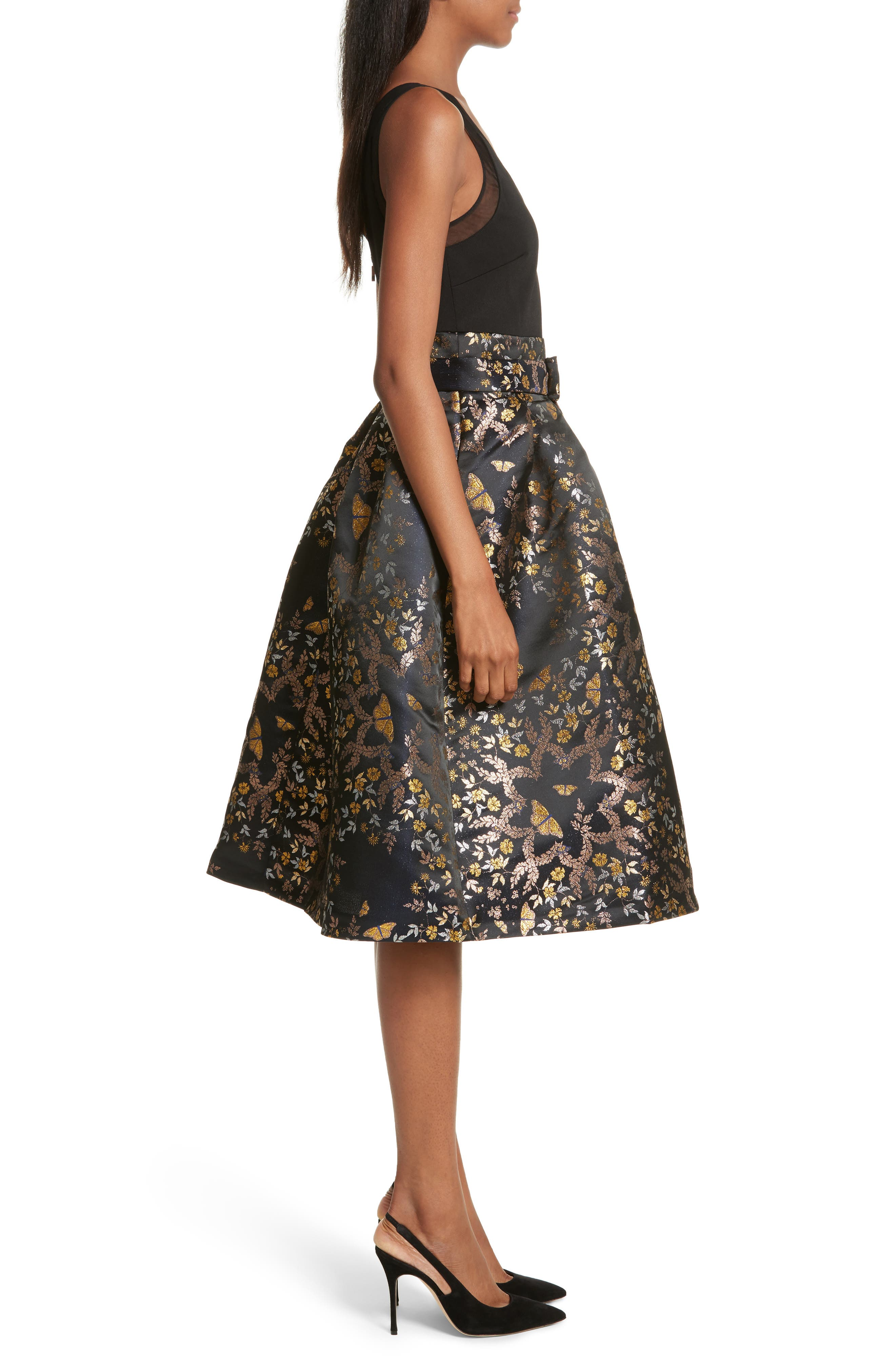 Dotalle Kyoto Garden Jacquard Midi Dress,                             Alternate thumbnail 3, color,                             Black