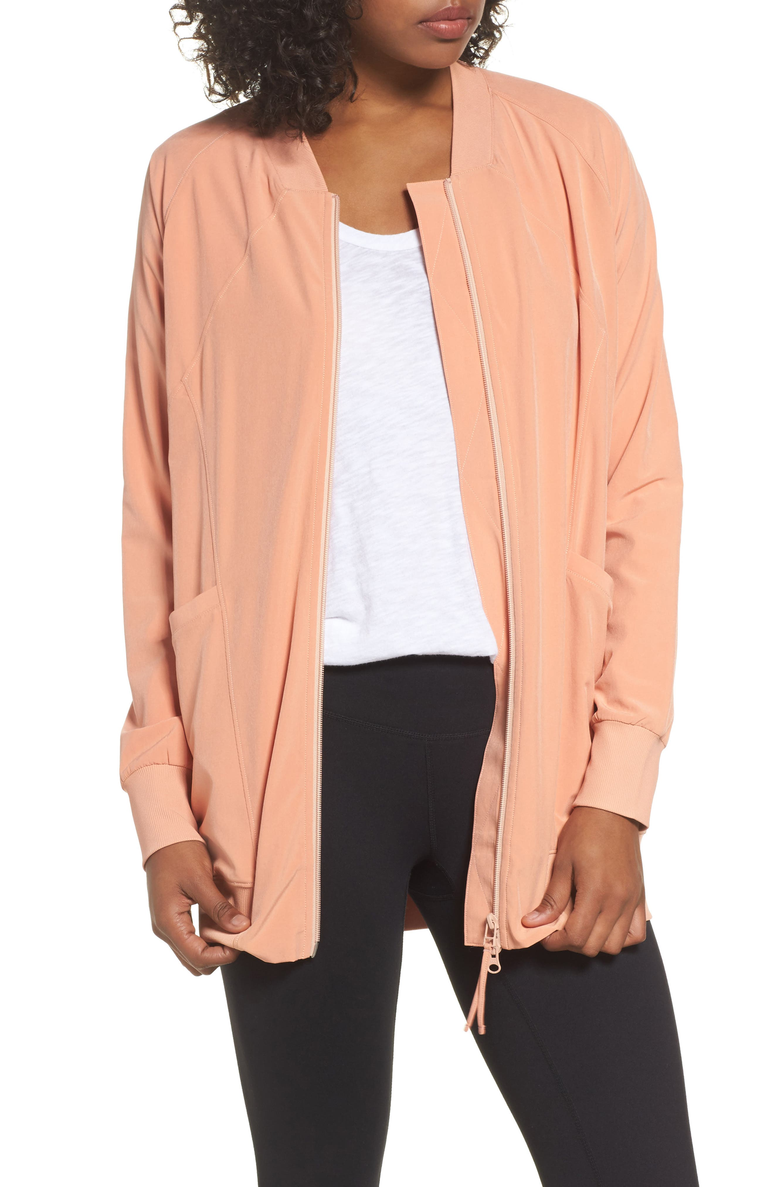 Long Bomber Jacket,                         Main,                         color, Coral Muted