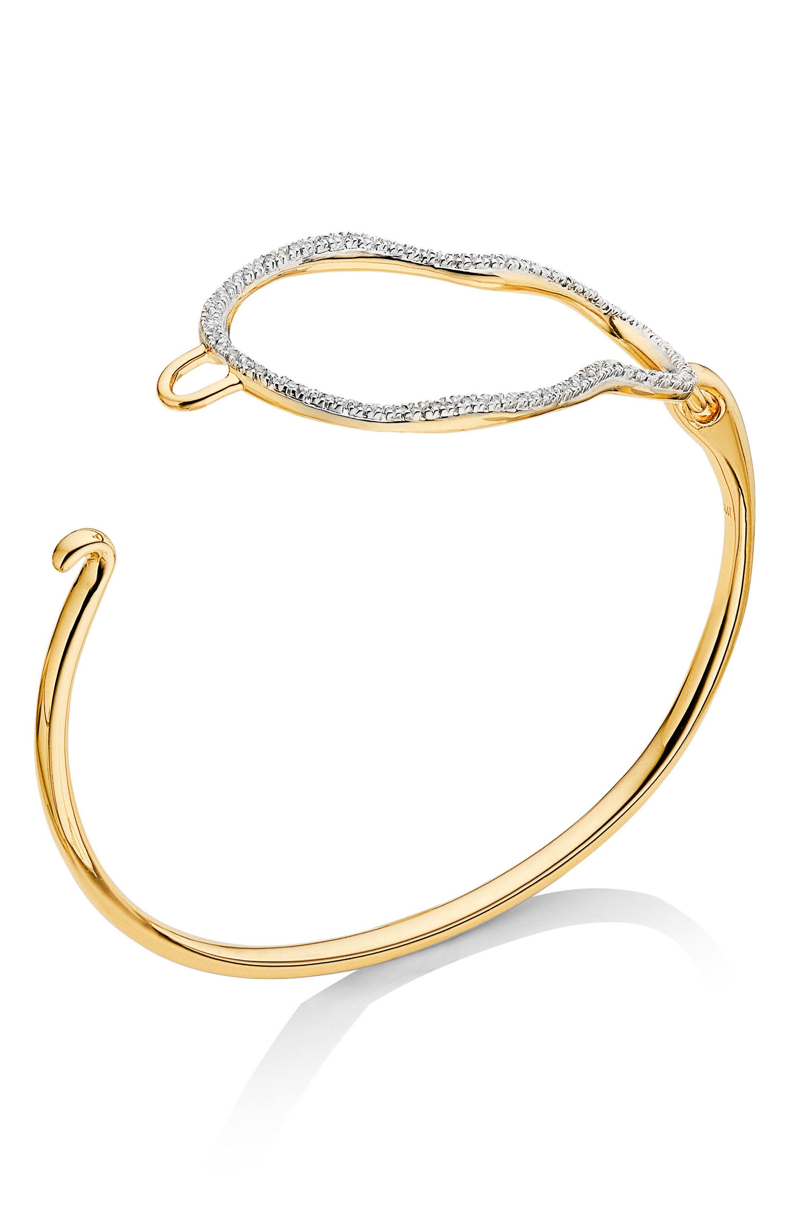 Riva Diamond Hook Bracelet,                             Main thumbnail 1, color,                             Gold/ Diamond