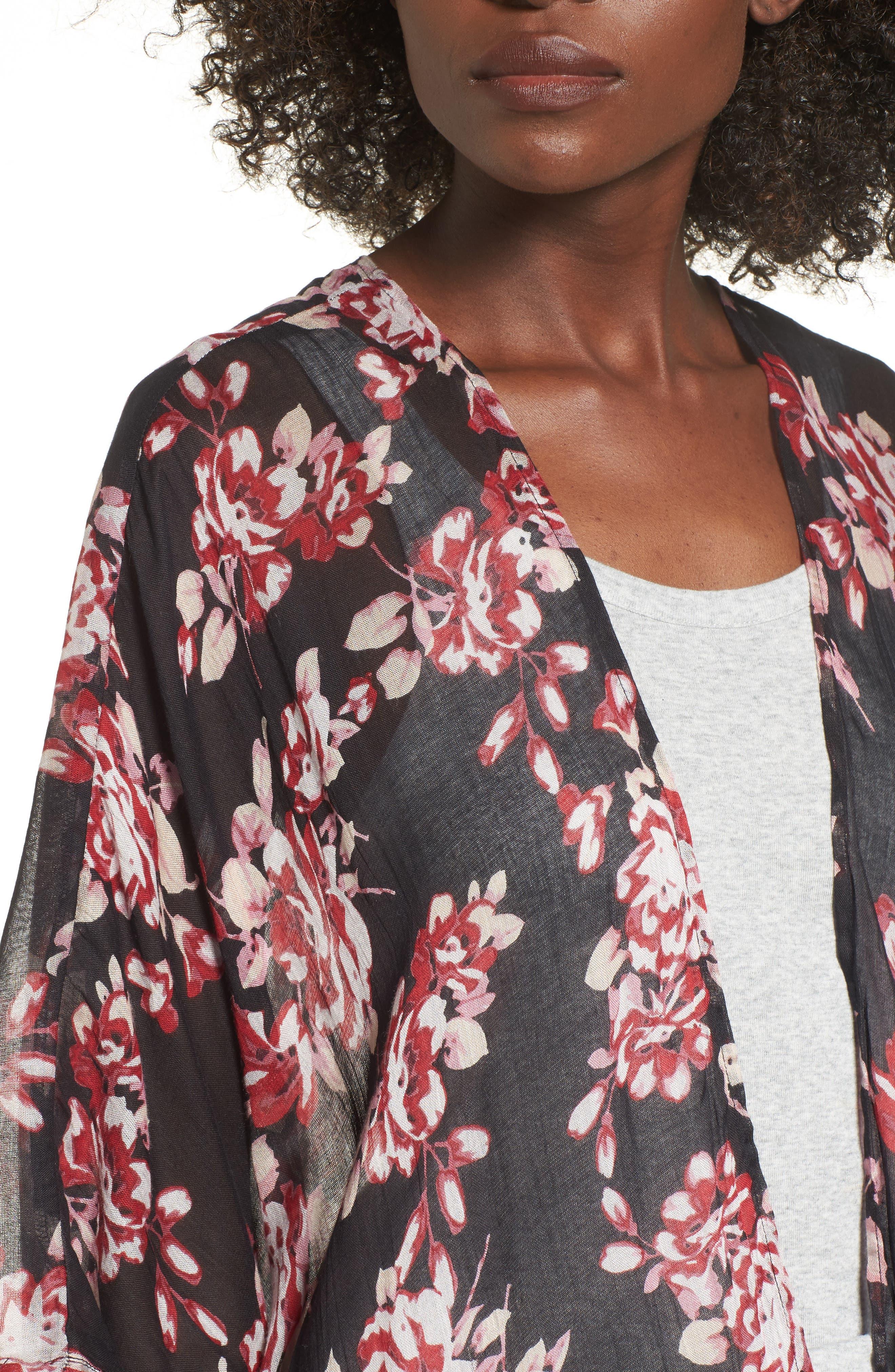 Floral Print Kimono,                             Alternate thumbnail 4, color,                             Multi