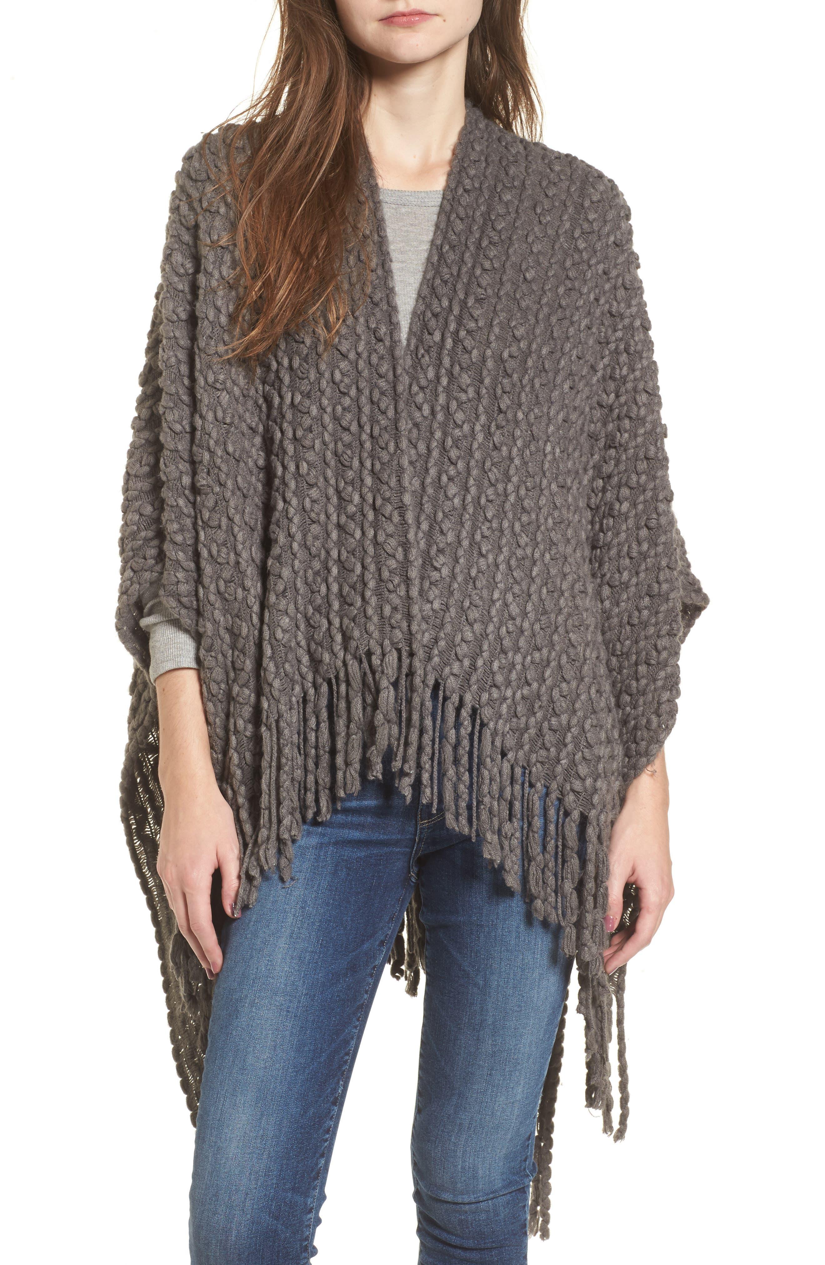 Knit Cape,                         Main,                         color, Charcoal