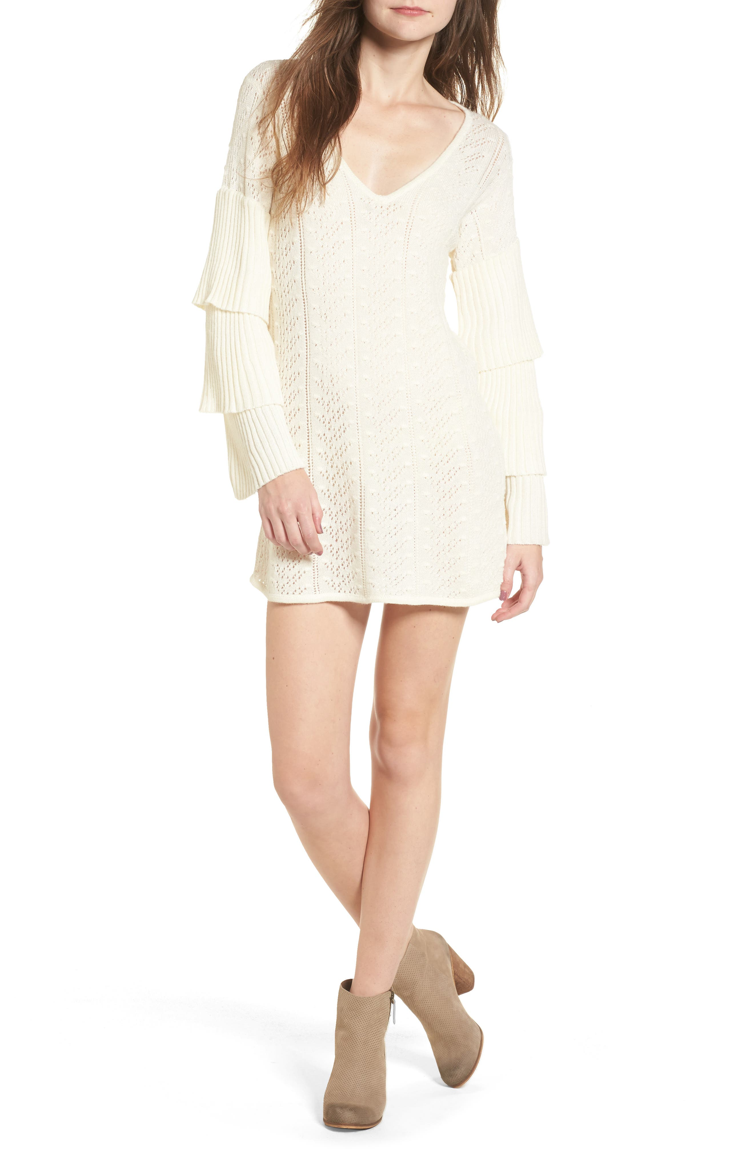 Scout Knit Ruffle Sleeve Dress,                         Main,                         color, Ivory