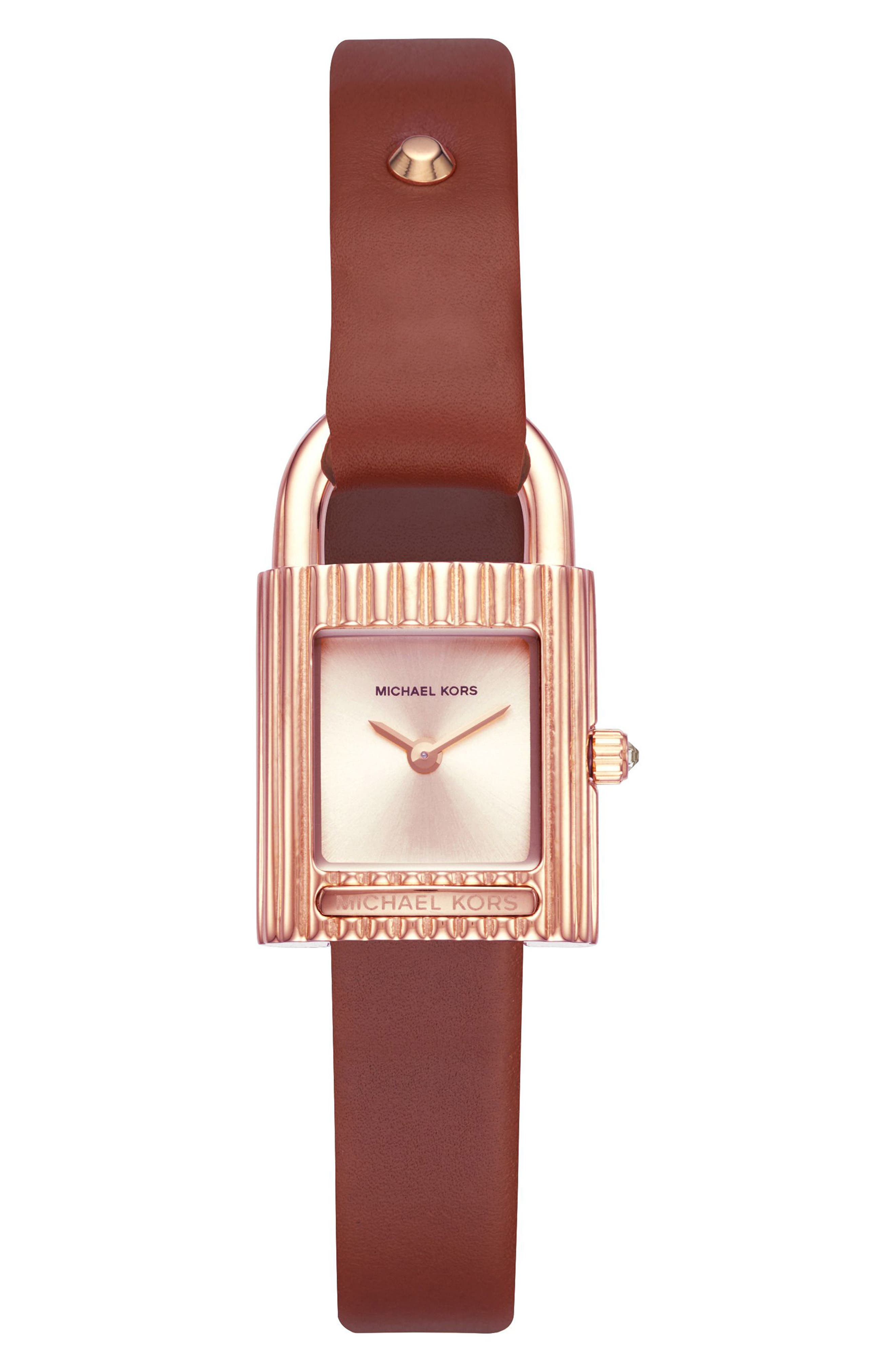 Isadore Leather Strap Watch, 22mm,                         Main,                         color, Red/ Rose Gold