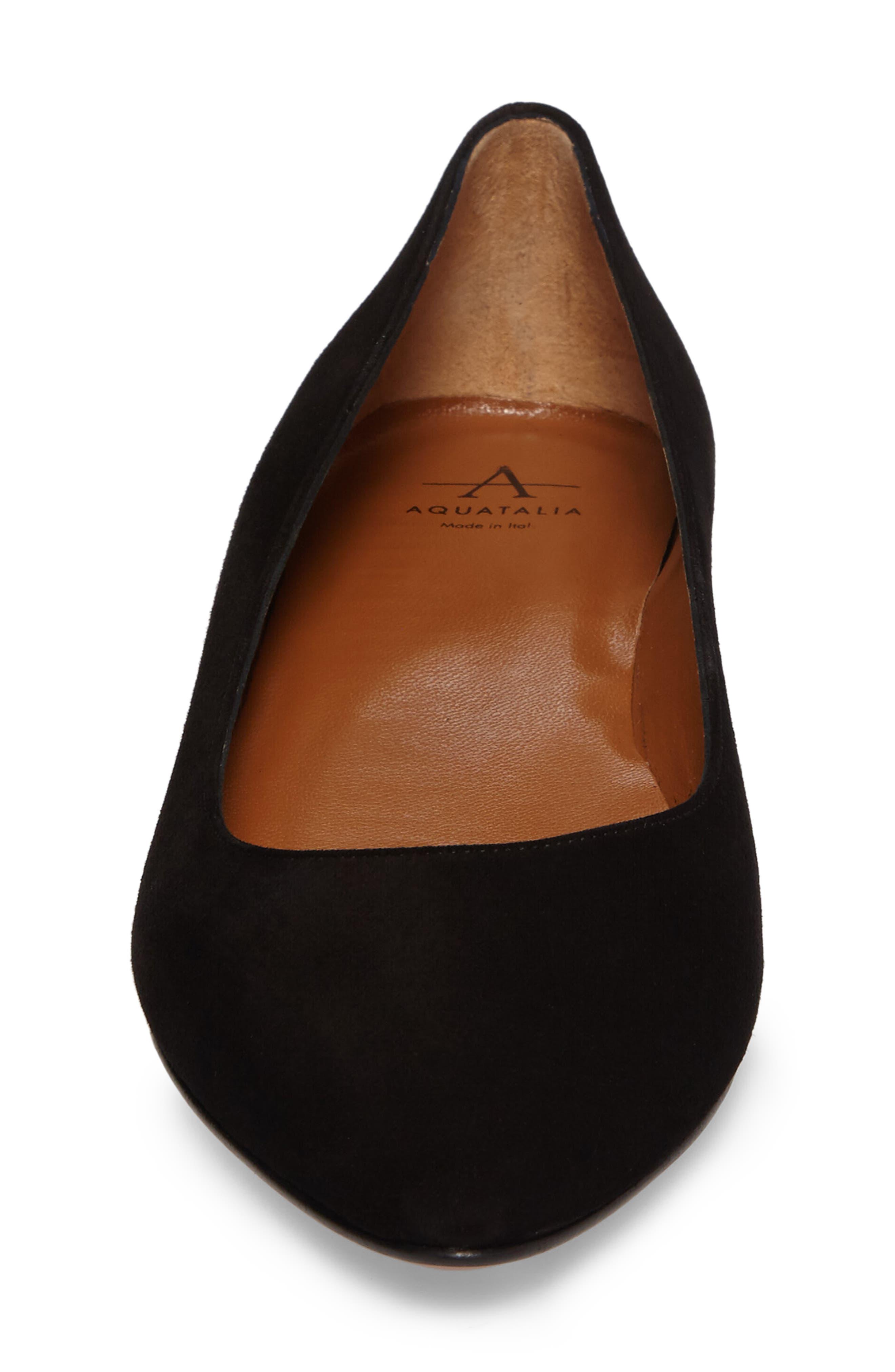 Perla Weatherproof Ballerina Shoe,                             Alternate thumbnail 4, color,                             Black Suede