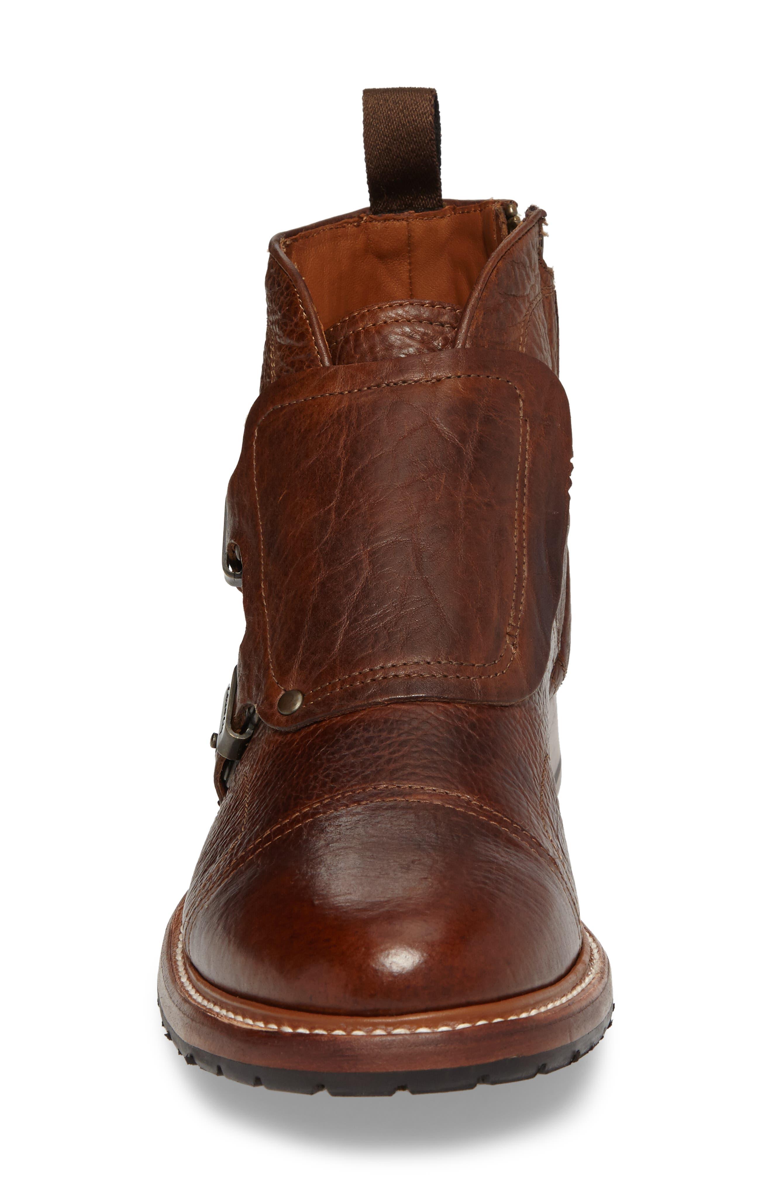 Montclair Zip Boot,                             Alternate thumbnail 4, color,                             Brown Leather