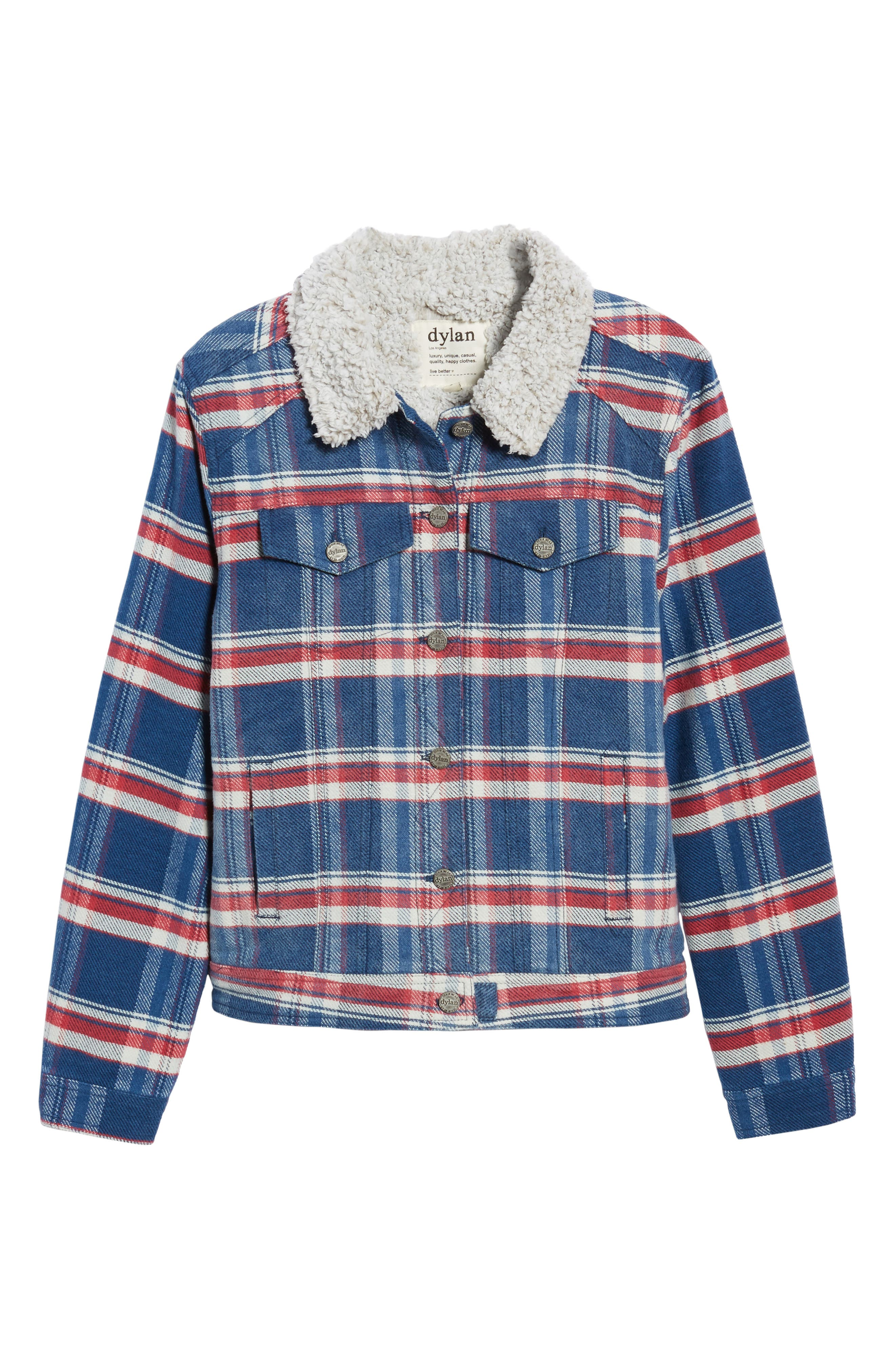 Alternate Image 6  - Dylan Ella Plaid Denim Jacket with Faux Shearling Collar