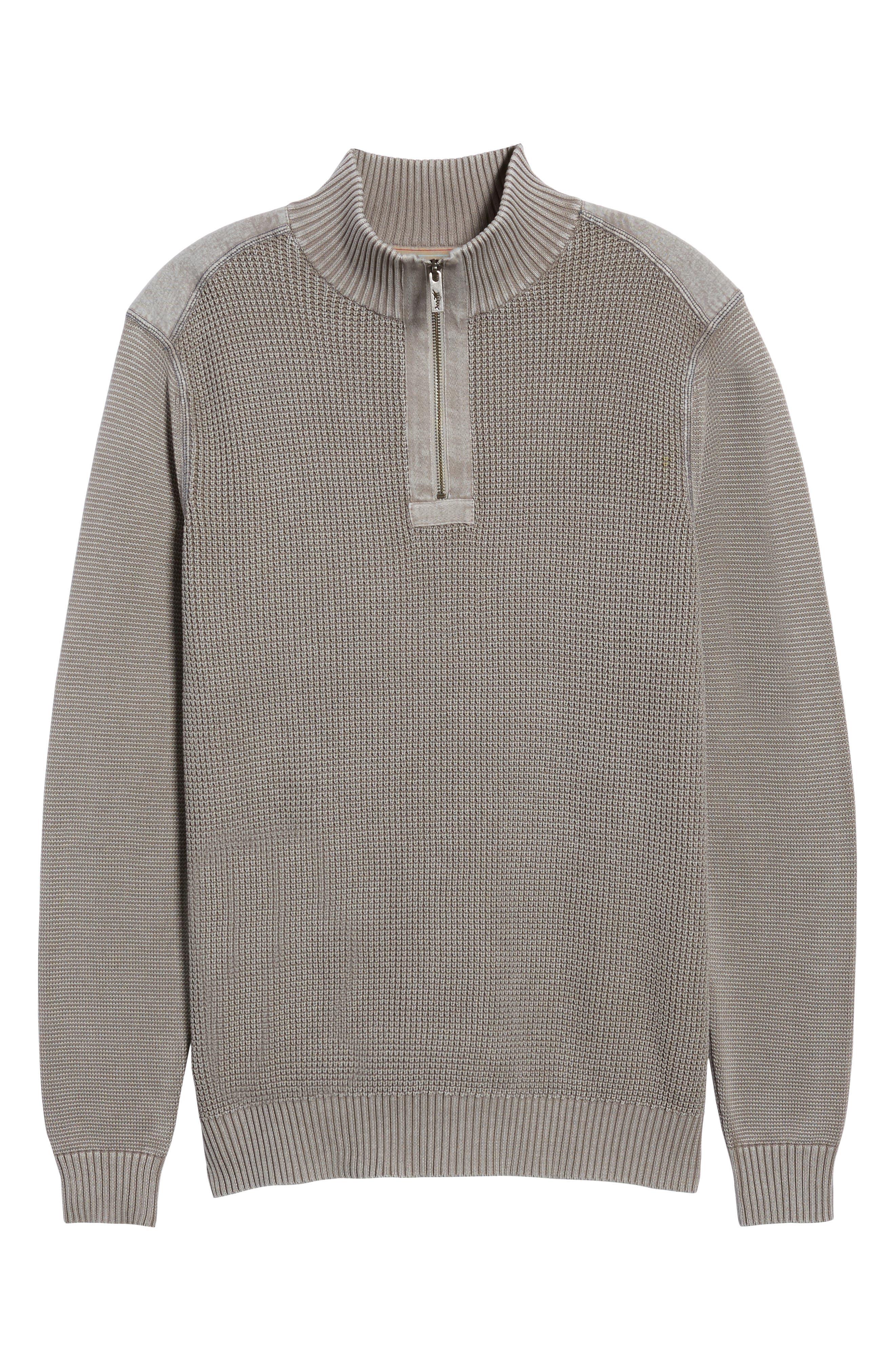 Coastal Shores Quarter Zip Sweater,                             Alternate thumbnail 4, color,                             Pebble Grey
