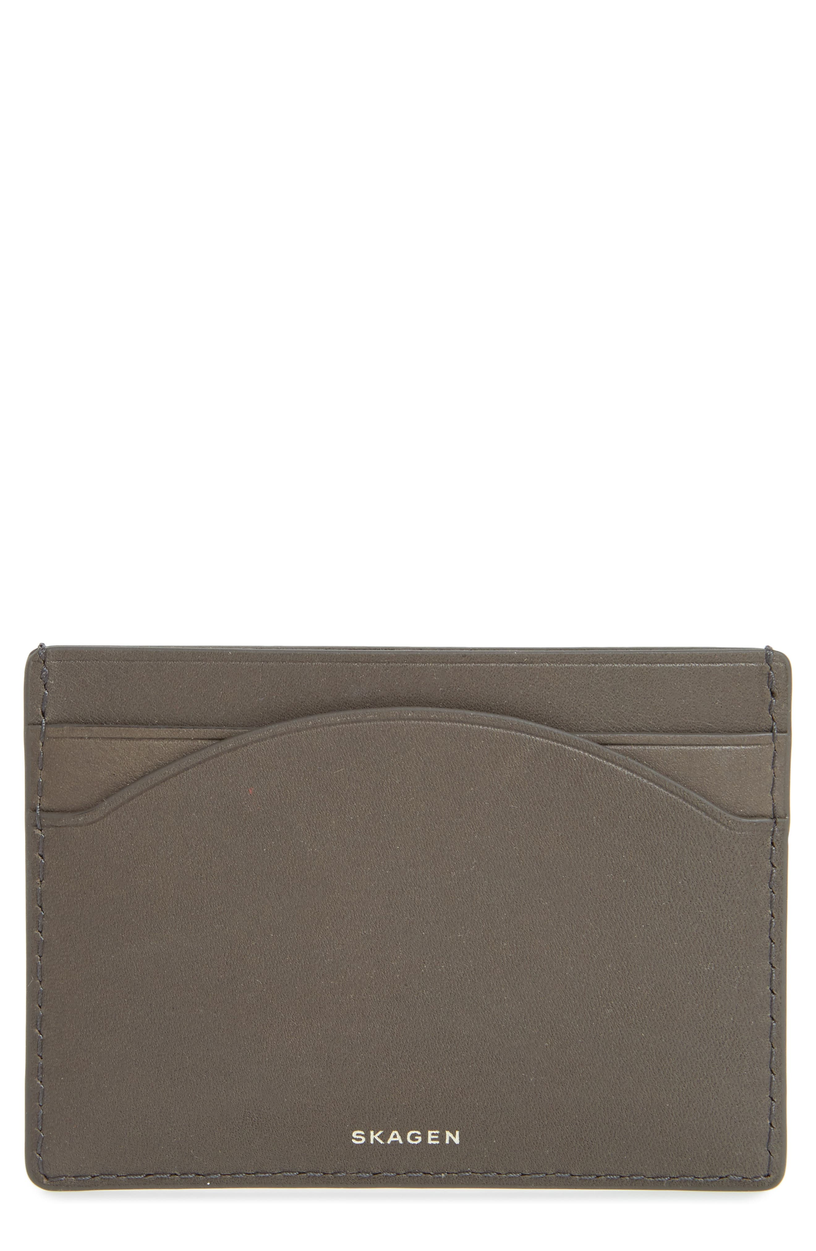 Leather Card Case,                         Main,                         color, Pewter